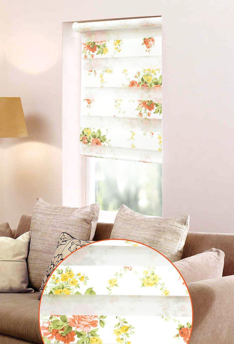 Мини ролло Garden День-ночь 2 48х160 см, крепление на раму, цвет: белый, зелёный10503Мини ролло Garden День-ночь изготовлены из высокопрочной плотной ткани и украшены изображением желтых и белых цветов. Ткань не выцветает, обладает отличной цветоустойчивостью и сохраняет свой размер даже при намокании. Мини-ролло - это подвид рулонных штор, который закрывает не весь оконный проем, а непосредственно само стекло. Крепление универсальное, шторы крепятся либо скобами на раму, либо на крепление с двусторонним скотчем. Мини ролло Garden День-ночь - это отличное решение для тех, кто не хочет утяжелять помещение тканевыми шторами. Они не только открывают пространство, но и легко регулируют подачу света в помещении, сдвигая полоски относительно друг друга. Происходит это с помощью шнура-цепочки. В комплект входит: - 2 крепления,- 2 самореза,- 2 дюбеля,- шнур-цепочка,- мини-ролло.