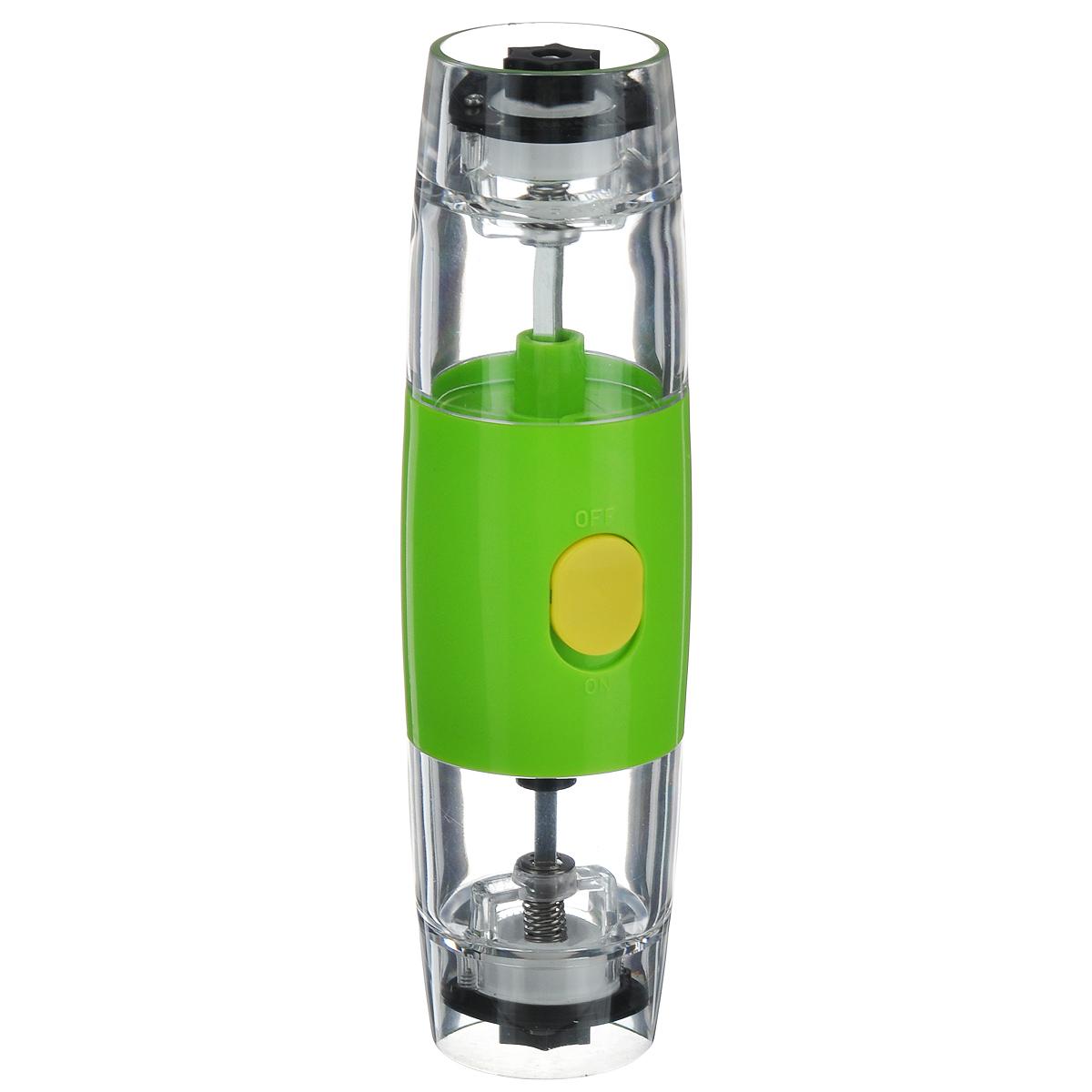 Электрическая мельница для соли и перца Mayer&Boch 2416724167Электрическая мельница Mayer&Boch - это просто незаменимая вещь на кухне любой современной хозяйки. Электрическая мельница с легкостью справится с горошинами перца или крупными кристаллами соли. Надежный и прочный механизм мельницы запускается при нажатии на кнопку. Мельница имеет регулировку степени измельчения. С такой удобной и функциональной мельницей, приготовление и употребление пищи переходит на качественно новый уровень. Работает от батареек АAА (не входят в комплект). Мельница электрическая МВ (х24). Цвет: зеленый, прозрачный, черный. Материал корпуса: керамика. Внутренняя стенка: АБС-пластик. Контейнер: акрил. Поверхность: АБС-пластик. Мелющий механизм: нержавеющая сталь. Тип питания: 4 батарейки типа АА. Размер упаковки: 6,3 х 6,3 х 21 см.