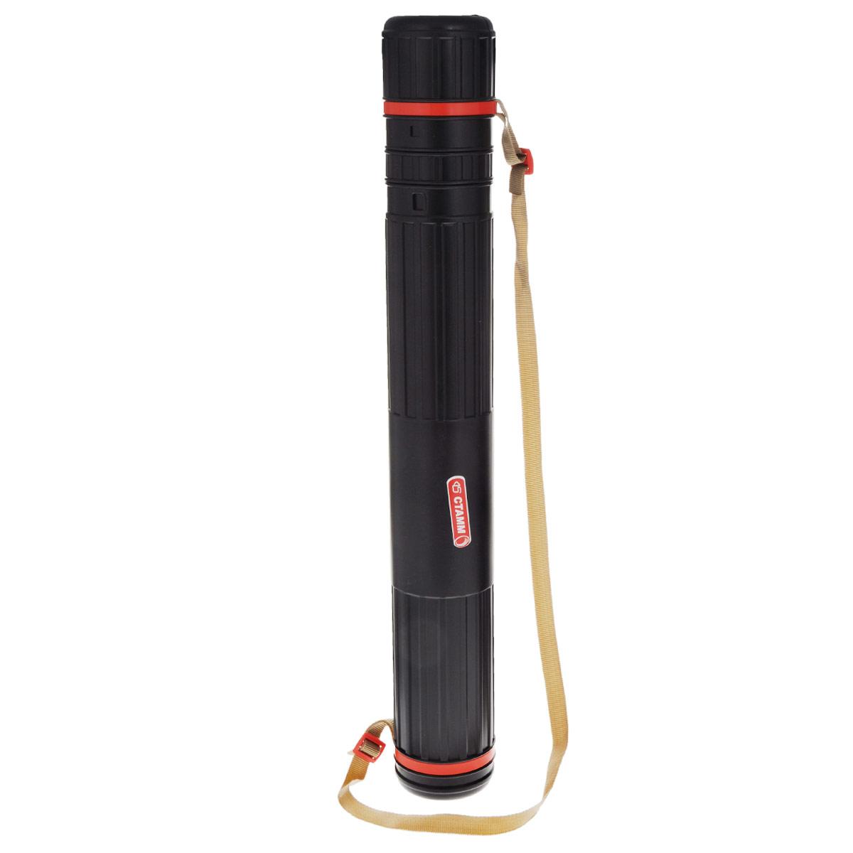 Стамм Тубус телескопический на ремне цвет черный красный 8,5 cмПТ11Телескопический (раздвижной) тубус Стамм, выполненный в современном эргономичном дизайне, идеально подойдет для хранения и транспортировки чертежей и рисунков. Вместительность тубуса составляет до 12 листов формата А4-А1. Длина тубуса регулируется с помощью специальных замочков на корпусе. Тубус оснащен прочным ремнем и боковой крышкой, обеспечивающей быстрый доступ к чертежам и рисункам. Эргономичный телескопический тубус будет незаменим для студентов и офисных работников. Характеристики: Материал: пластик, текстиль. Диаметр тубуса: 8,5 см. Минимальная длина: 63 см. Максимальная длина: 110 см.