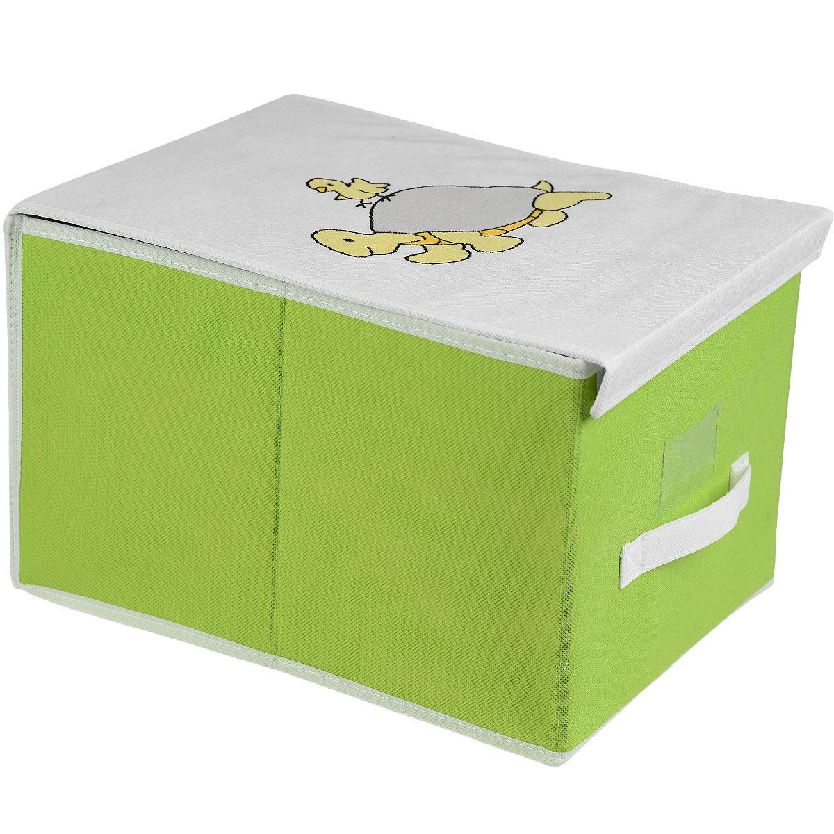 Чехол для хранения Voila Baby, цвет: салатовый, 30 х 40 х 25 см96515412Чехол Voila Baby выполнен из дышащего нетканого материала (полипропилен), безопасного в использовании. Изделие предназначено для хранения вещей. Он защитит вещи от повреждений, пыли, влаги и загрязнений во время хранения и транспортировки. Чехол идеально подходит для хранения детских вещей и игрушек. Жесткий каркас из плотного толстого картона, обеспечивает устойчивость конструкции. Изделие оформлено красочным изображением. Закрывается на липучки.