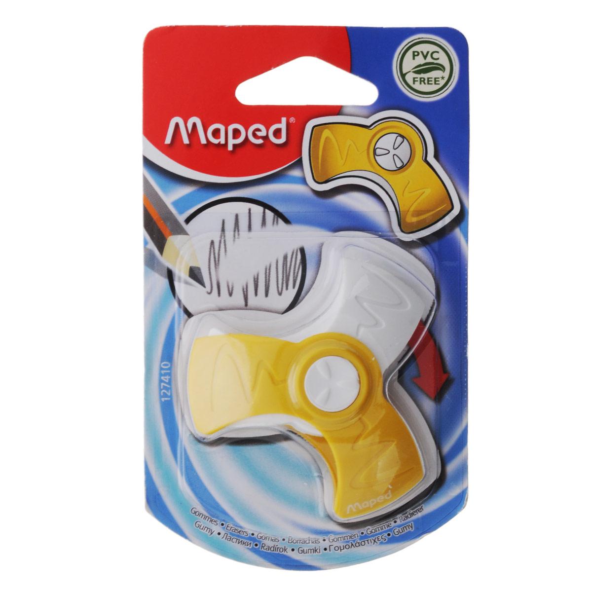 Ластик Maped Spin, цвет: желтыйFS-54103Оригинальный ластик Spin в поворотном защитном футляре из пластика легко удаляет следы чернографитных карандашей, а футляр защищает ластик от загрязнений и увеличивает его срок службы. Не содержит ПВХ.