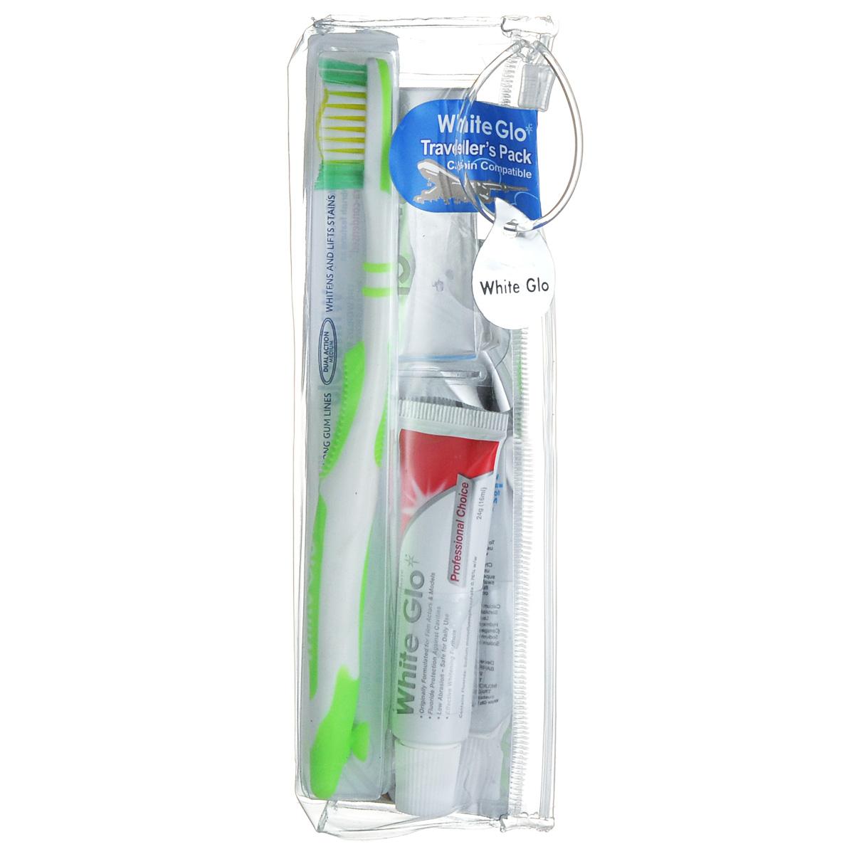 Дорожный набор White Glo: зубная паста, зубная щетка, зубочистки, цвет: салатовыйSC-FM20101Дорожный набор White Glo включает зубная пасту White Glo Профессиональный выбор, зубную щетку и нитевидные зубочистки 8 штук.. Зубная паста премиум-класса, обогащенная фторидом, обеспечивает максимальную гигиену полости рта. Специальная экстрасильная формула отбеливания помогает высветлять пятна и налет на зубной эмали, вызванные красящей пищей и напитками. Содержит богатое витаминами А, С и Е масло семян шиповника, которое повышает защитные свойства слизистой оболочки полости рта.Зубная щетка из высококачественной экстрагустой щетины DuPont вместе с микрочастицами в составе пасты мягко очищает поверхность зубов, способствует их эффективному отбеливанию и удалению пятен. Товар сертифицирован.
