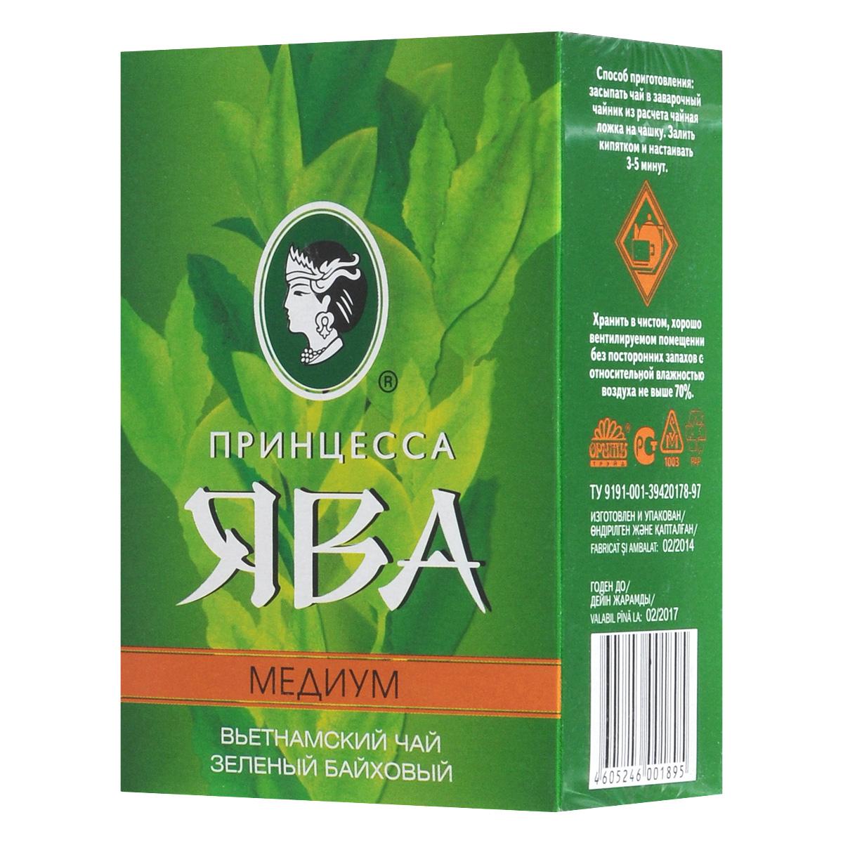 Принцесса Ява Медиум зеленый чай листовой, 100 г0120710Северо-вьетнамский крупнолистовой зеленый чай Принцесса Ява Медиум высушивается вбамбуковых корзинах над огнем. Эта особенность обработки придает чайному настою своеобразный вкус и аромат.