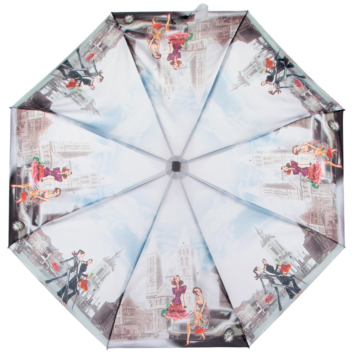 Зонт женский Zest, цвет: голубой, серый, мультицвет. 23815-91058L035081M/35449/2900NКомпактный женский зонт ZEST выполнен из металла, пластика и оформлен ярким принтом.Каркас зонта выполнен из восьми спиц, стержень из стали. На концах спиц предусмотрены металлические элементы, которые защитят владельца от травм. Купол зонта изготовлен прочного полиэстера. Закрытый купол застегивается на липучку хлястиком. Практичная рукоятка закругленной формы разработана с учетом требований эргономики и выполнена из пластика.Зонт полностью автоматический.Такой зонт не только надежно защитит от дождя, но и станет стильным аксессуаром.