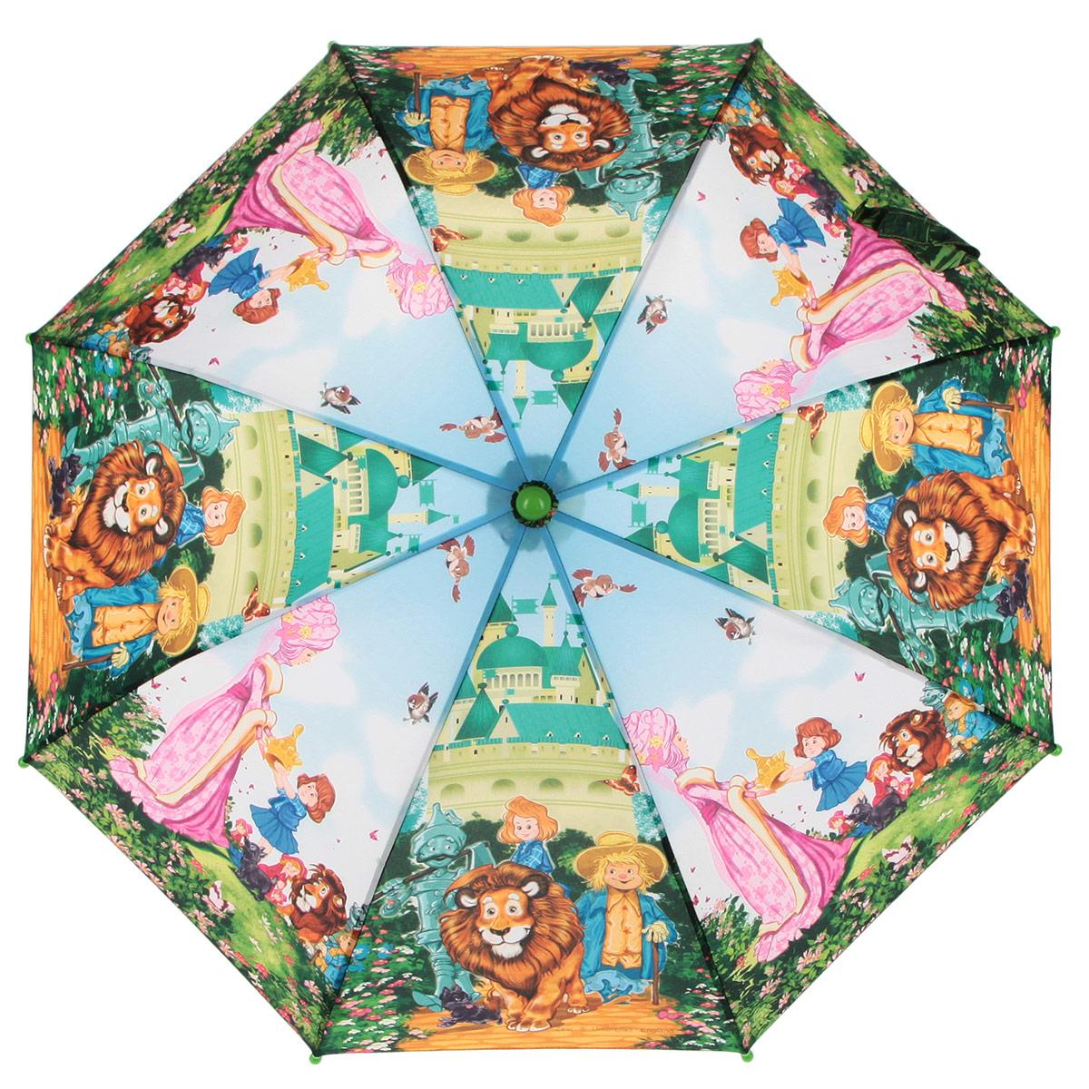 Зонт-трость детский Zest, цвет: голубой, зеленый, мультицвет. 21-0321-03Красочный детский зонт-трость ZEST выполнен из металла и пластика, оформлен принтом с изображениями героев известнейших сказок. Каркас зонта выполнен из восьми спиц, стержень из стали. На концах спиц предусмотрены пластиковые элементы, которые защитят малыша от травм. Купол зонта изготовлен прочного полиэстера. Закрытый купол застегивается на липучку хлястиком. Практичная глянцевая рукоятка закругленной формы разработана с учетом требований эргономики и выполнена из пластика. Зонт раскладывается и складывается при помощи механических воздействий.