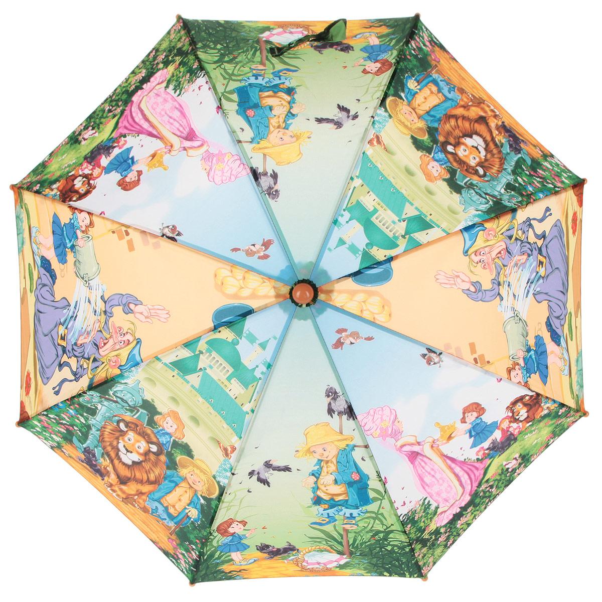 Зонт-трость детский Zest, цвет: зеленый, голубой, оранжевый, мультицвет. 21665-0245100948B/32793/5900NКрасочный детский зонт-трость ZEST выполнен из металла и пластика, оформлен принтом с изображениями героев известнейших сказок.Каркас зонта выполнен из восьми спиц, стержень из стали. На концах спиц предусмотрены пластиковые элементы, которые защитят малыша от травм. Купол зонта изготовлен прочного полиэстера. Закрытый купол застегивается на липучку хлястиком. Практичная глянцевая рукоятка закругленной формы разработана с учетом требований эргономики и выполнена из пластика.Зонт имеет полуавтоматический механизм сложения: купол открывается нажатием кнопки на рукоятке, а закрывается вручную до характерного щелчка.Такой зонт не только надежно защитит малыша от дождя, но и станет стильным аксессуаром.