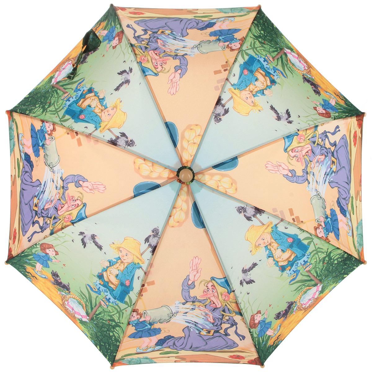 Зонт-трость детский Zest, цвет: зеленый, желтый, фиолетовый. 21665-0421665-04Красочный детский зонт-трость ZEST выполнен из металла и пластика, оформлен принтом с изображениями героев известнейших сказок. Каркас зонта выполнен из восьми спиц, стержень из стали. На концах спиц предусмотрены пластиковые элементы, которые защитят малыша от травм. Купол зонта изготовлен прочного полиэстера. Закрытый купол застегивается на липучку хлястиком. Практичная глянцевая рукоятка закругленной формы разработана с учетом требований эргономики и выполнена из пластика. Зонт имеет полуавтоматический механизм сложения: купол открывается нажатием кнопки на рукоятке, а закрывается вручную до характерного щелчка.