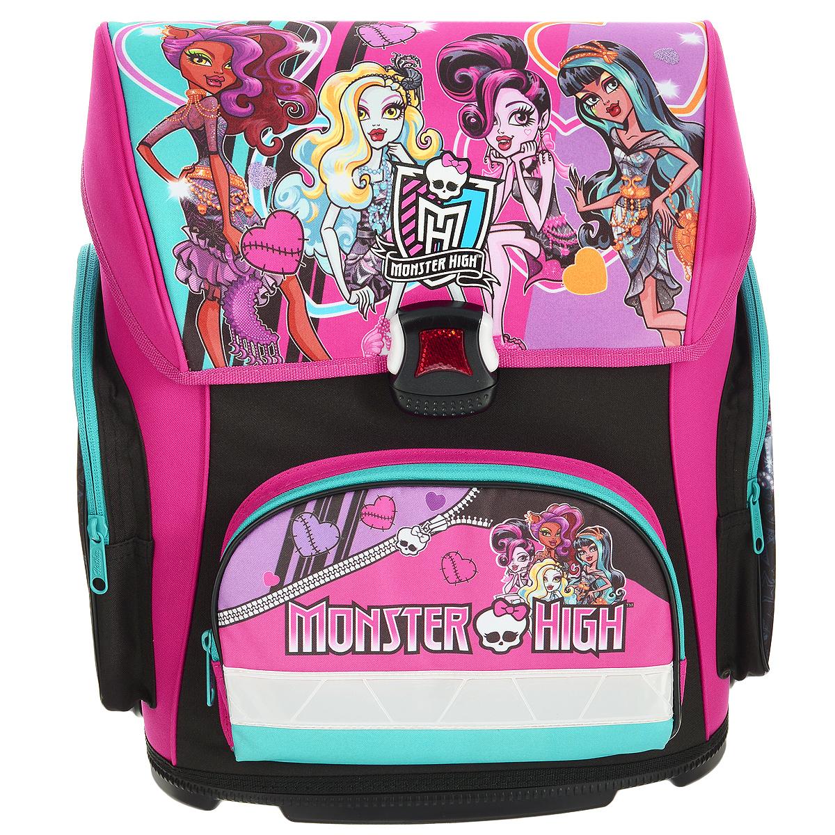 Ранец школьный Hatber Monster High, модель Optimum, цвет: черный, розовый72523WDРанец школьный Hatber Monster High выполнен из водонепроницаемого, морозоустойчивого, устойчивого к солнечному излучению материала. Изделие оформлено изображениями героев мультфильма Школа монстров. Ранец содержит одно вместительное отделение, закрывающееся клапаном на пластиковый замок-защелку, который является морозоустойчивым, отличается долгим сроком службы. Внутри отделения имеется одна перегородка для тетрадей, учебников, маленький карман-косметичка на пластиковой молнии и накладной пластиковый кармашек, предназначенный для расписания уроков (имеется вкладыш для заполнения). Верхний клапан полностью откидывается, что существенно облегчает пользование ранцем. Ранец имеет два боковых кармана, закрывающихся на молнии и один карман на молнии на лицевой стороне. Ранец оснащен ручкой с резиновой насадкой для удобной переноски. Специальная жесткая конструкция спинки ранца оптимально распределяет нагрузку на позвоночник ребенка, способствуя формированию правильной осанки. В нижней части спинки расположен поясничный валик, на который, при правильном ношении, приходится основная нагрузка. Для удобства и комфорта, спинка и лямки ранца дополнены эргономичными подушечками, противоскользящей сеточкой с вентиляционными отверстиями. S-образная форма лямок обеспечивает более плотную фиксацию ранца, предотвращая перенапряжение мышц. Мягкие анатомические лямки позволяют легко и быстро отрегулировать ранец в соответствии с ростом ребенка. Дно ранца выполнено из пластика высокого качества, оно не деформируется, обеспечивает ранцу хорошую устойчивость и легко очищается от загрязнений.Светоотражающие элементы на лицевой и боковой стороне, а также на лямках рюкзака обеспечивают дополнительную безопасность в темное время суток.