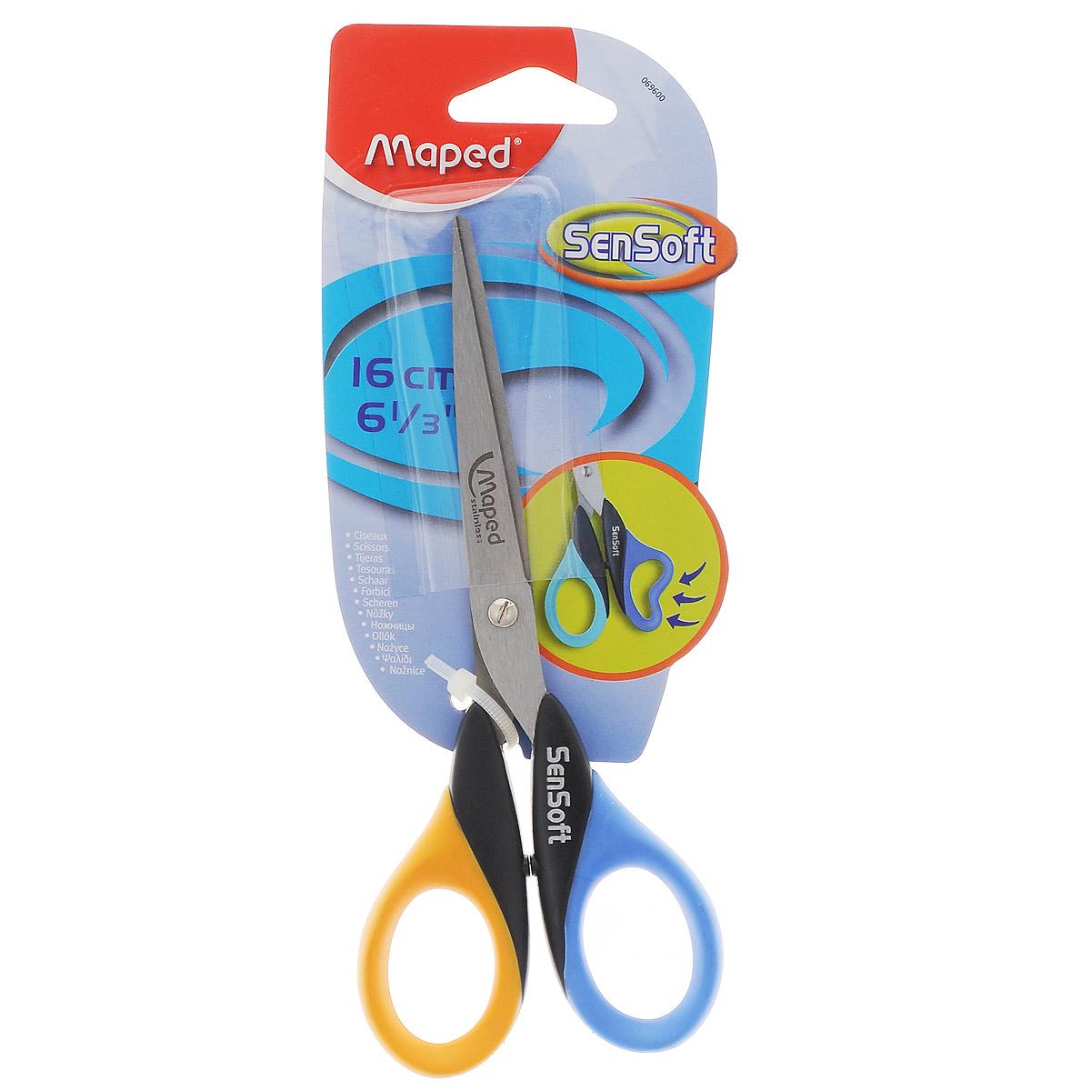 Maped Ножницы Sensoft цвет синий желтый 16 см69600_синий, желтыйЛезвия ножниц Sensoft выполнены из шлифованной нержавеющей стали и отлично режут бумагу, картон, ткань, клеенку. Гнущиеся гибкие кольца ножниц делают резку абсолютно комфортной. Рекомендовано детям старше пяти лет.
