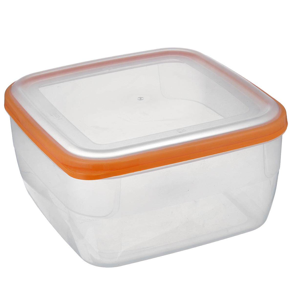 Контейнер Полимербыт Премиум, цвет: прозрачный, оранжевый, 3 лС568 оранжевыйКонтейнер Полимербыт Премиум квадратной формы, изготовленный из прочного пластика, предназначен специально для хранения пищевых продуктов. Крышка легко открывается и плотно закрывается. Стенки контейнера прозрачные - хорошо видно, что внутри. Контейнер устойчив к воздействию масел и жиров, легко моется. Прозрачные стенки позволяют видеть содержимое. Контейнер имеет возможность хранения продуктов глубокой заморозки, обладает высокой прочностью. Подходит для использования в микроволновых печах. Можно мыть в посудомоечной машине.