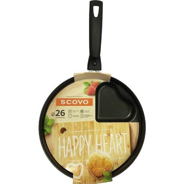 Сковорода HAPPY HEART d 260, с антипригарным покрытием, SCOVO. RH-002, бордовый
