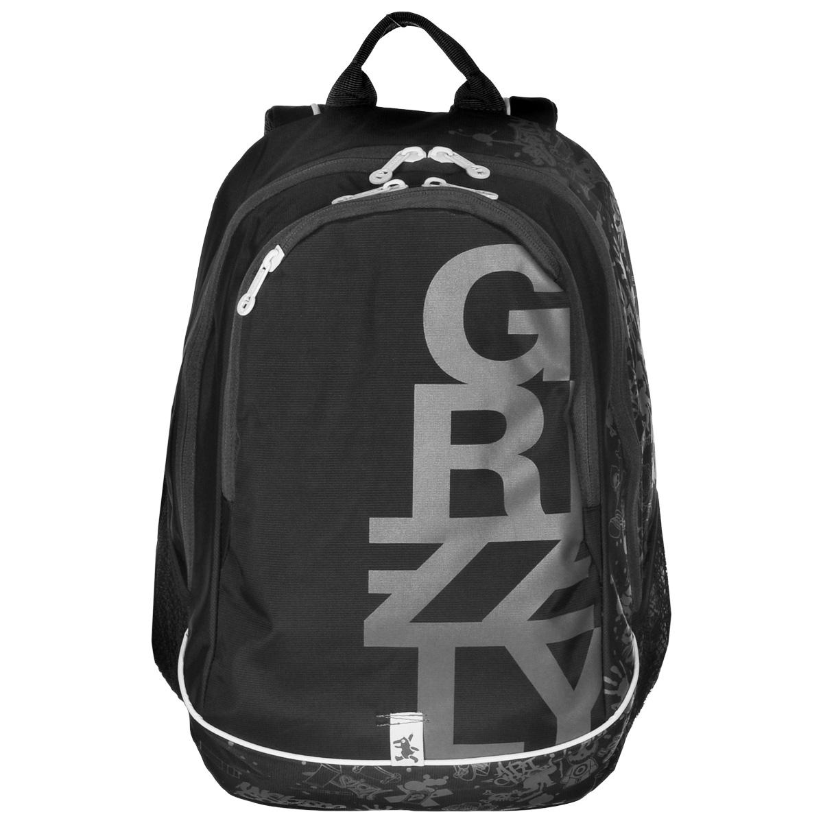 Рюкзак городской Grizzly, цвет: черный, серый, 29 л. RU-400-1/222-0570 SРюкзак Grizzly - это оригинальный молодежный рюкзак со стильным принтом и множеством удобных отделений. Верх изделия выполнен из нейлона, внутренняя поверхность отделана полиэстером зеленого цвета. Рюкзак имеет два отделения, которые закрываются на застежку-молнию. Внутри первого отделения содержится вшитый карман на молнии и пластиковый карман для визитки, внутри второго - сетчатый карман на молнии и 3 открытых кармашка. Модель имеет жесткую рельефную спинку с мягкими вставками и анатомическими лямками. На передней стенке содержится карман на молнии, по бокам расположено 2 сетчатых кармана. Такой рюкзак подчеркнет ваш стиль и поможет выделиться из толпы.