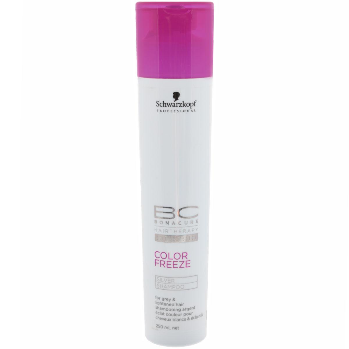 Bonacure Шампунь для волос придающий серебряный оттенок волосам Color Freeze Silver Shampoo 250 млБ33041_шампунь-барбарис и липа, скраб -черная смородинаШампунь Bonacure Color Freeze, придающий серебристый оттенок волосам, деликатно и эффективно очищает окрашенные волосы и кожу головы. Укрепляет структуру волос и удерживает оптимальный уровень pH 4.5, сводит потерю цвета к 0. Нейтрализует теплые оттенки и придает холодный оттенок волосам. Для окрашенных волос. Рекомендуется использовать в комплексе с продуктами ухода линейки BC Color Freeze.