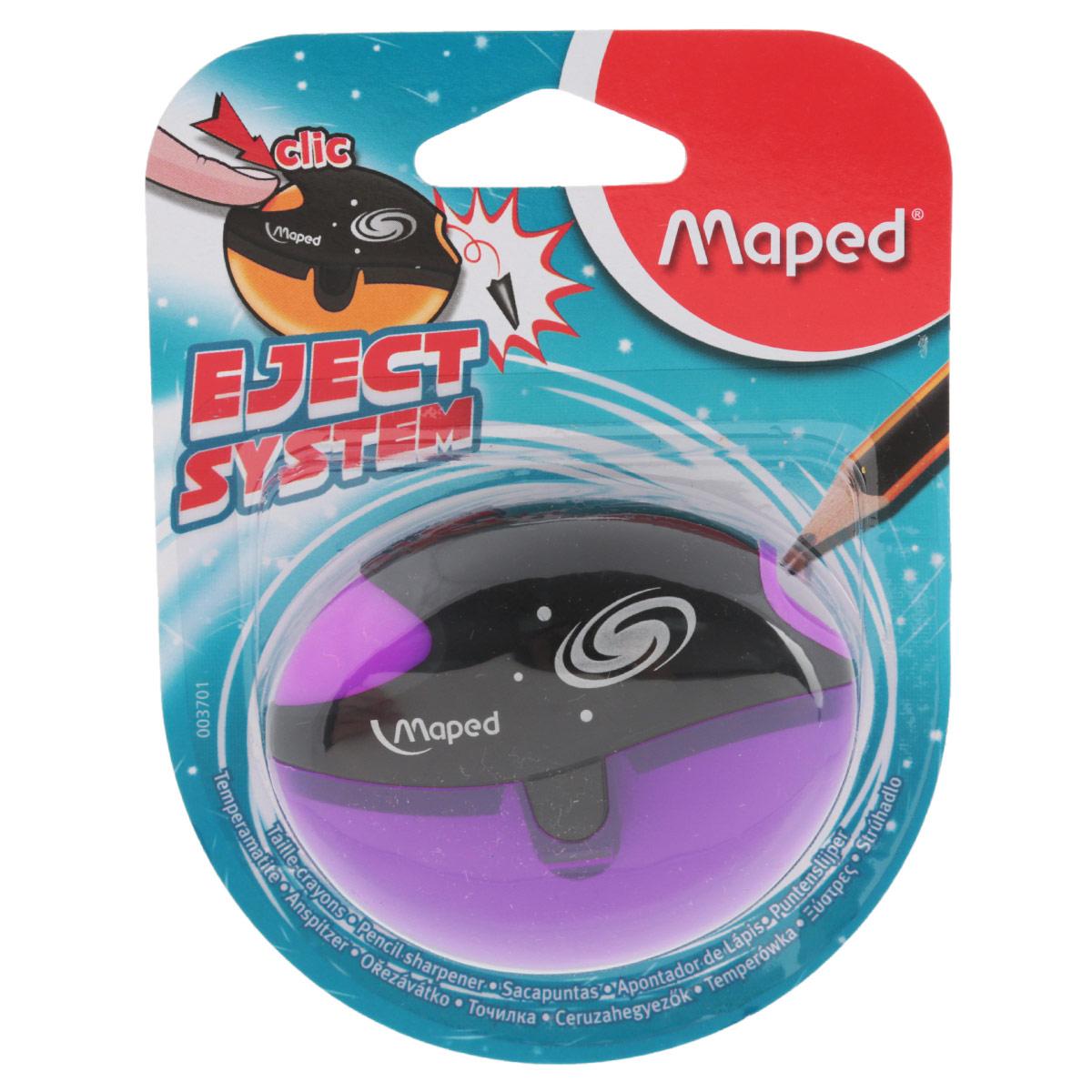 Точилка Maped Galactic, цвет: фиолетовый3701_фиолетовыйТочилка пластиковая Maped Galactic - это точилка изготовленная из пластика, с одним отверстием, контейнером и специальной защитой от сломанного грифеля. Полупрозрачный контейнер для сбора стружки повышенной вместимости позволяет визуально контролировать уровень заполнения и вовремя производить очистку. Это точилка, в которой не застревает грифель. Одно нажатие на кнопку освобождает точилку от сломанного грифеля. Предназначена для использования как в школе, так и в офисе. Рекомендовано детям старше трех лет.