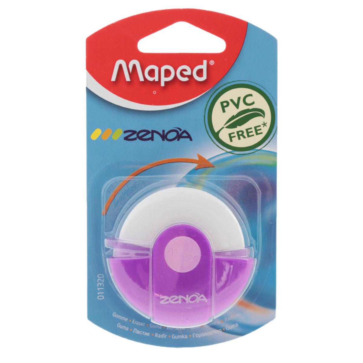 Ластик Maped Zenoa, цвет: розовый, белый11320_розовыйОригинальный ластик Zenoa в поворотном защитном футляре из пластика. Легко удаляет следы чернографитных карандашей, а футляр защищает ластик от загрязнений и увеличивает его срок службы. Обеспечивает высокое качество коррекции, не повреждая поверхность бумаги, не оставляя следов. Не содержит ПВХ.