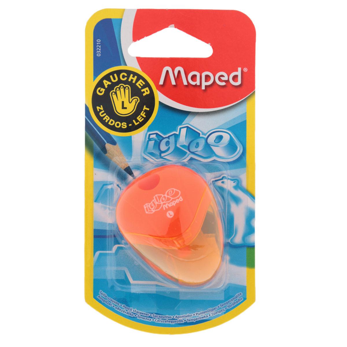 Точилка Maped Igloo, для левшей, цвет: оранжевыйFS-36054Точилка Igloo для левшей с одним отверстием выполнена из ударопрочного пластика. Полупрозрачный контейнер для сбора стружки позволяет визуально контролировать уровень заполнения и вовремя производить очистку. Подходит как для школы, так и для офиса.Рекомендовано детям старше трех лет.