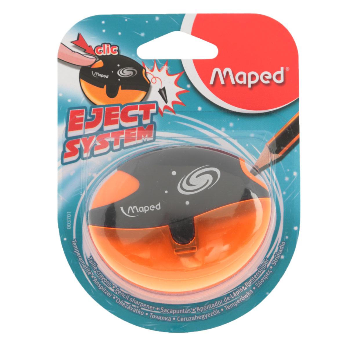 Точилка Maped Galactic, с контейнером, цвет: оранжевый3701_оранжевыйТочилка пластиковая Maped Galactic - это точилка изготовленная из пластика, с одним отверстием, контейнером и специальной защитой от сломанного грифеля. Полупрозрачный контейнер для сбора стружки повышенной вместимости позволяет визуально контролировать уровень заполнения и вовремя производить очистку. Это точилка, в которой не застревает грифель. Одно нажатие на кнопку освобождает точилку от сломанного грифеля. Предназначена для использования как в школе, так и в офисе. Рекомендовано детям старше трех лет.
