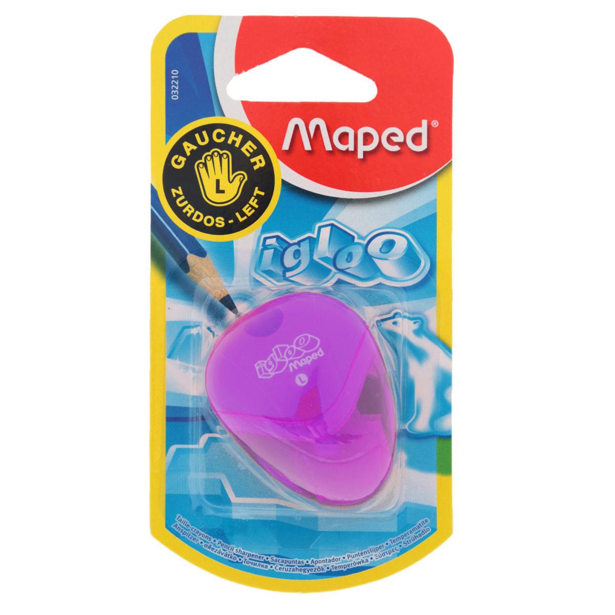 Точилка Maped Igloo, для левшей, цвет: фиолетовый32210_фиолетовыйТочилка Igloo для левшей с одним отверстием выполнена из ударопрочного пластика. Полупрозрачный контейнер для сбора стружки позволяет визуально контролировать уровень заполнения и вовремя производить очистку. Подходит как для школы, так и для офиса. Рекомендовано детям старше трех лет.