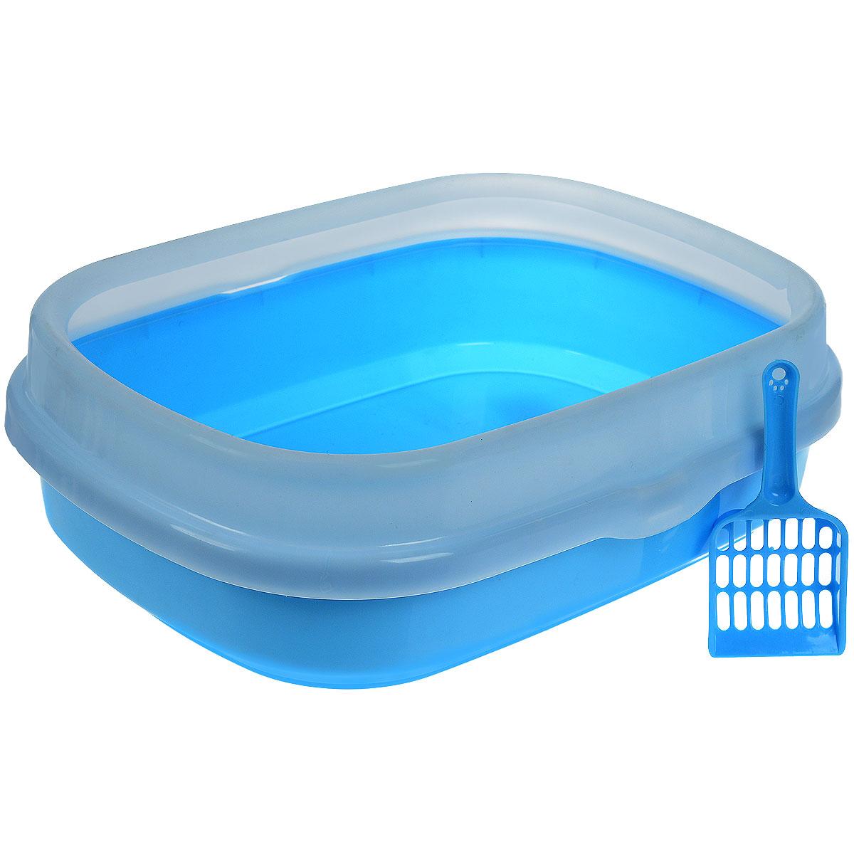 """V.I.Pet Туалет для кошек """"Галакси"""", с бортом, с совком, цвет: голубой, белый, 54 см х 42 см х 17 см P192_голубой"""