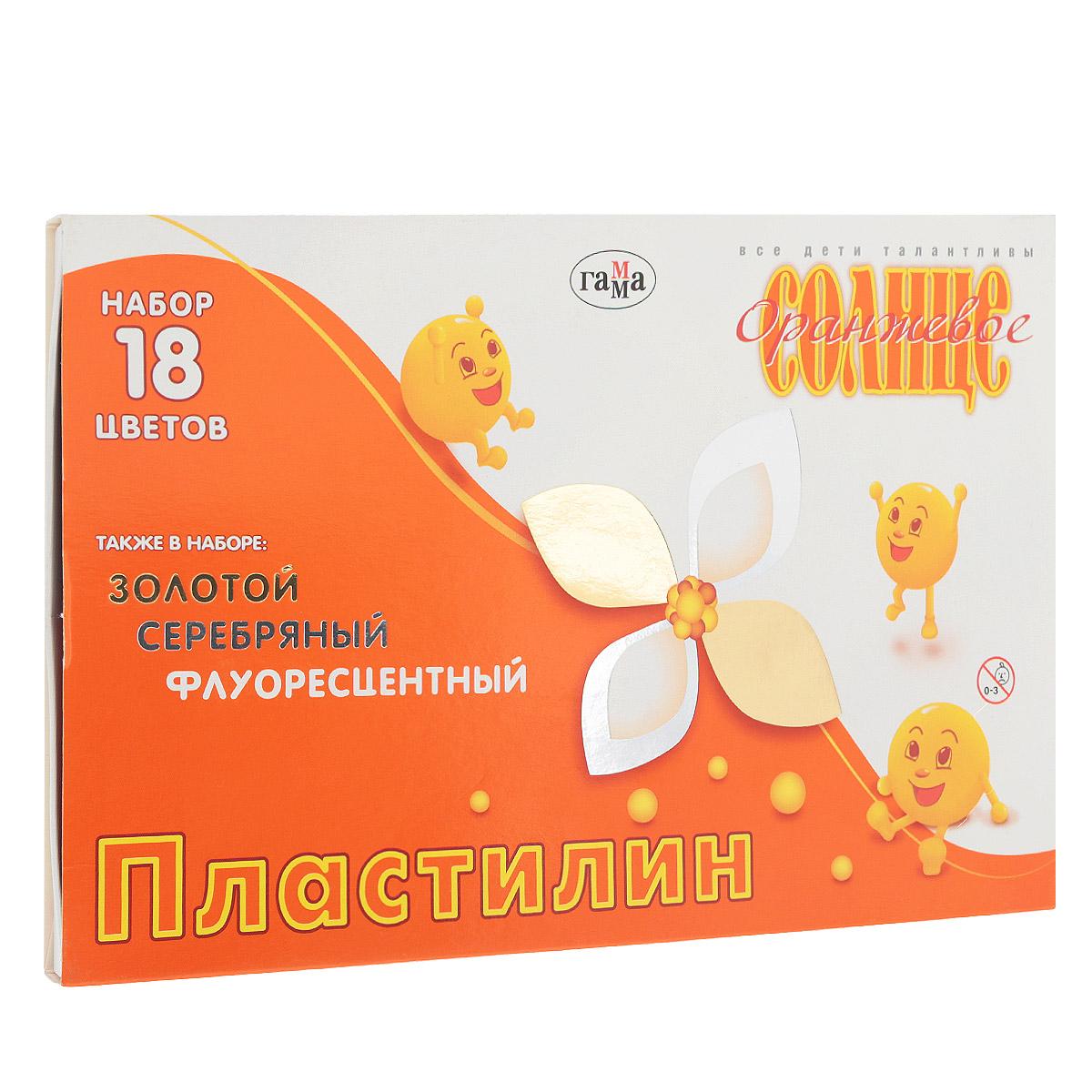 Пластилин Гамма Оранжевое солнце, 18 цветов280040Пластилин Гамма Оранжевое солнце предназначен для лепки и моделирования. Лепка из пластилина способствует развитию мелкой моторики рук и пространственного мышления, кроме того, это увлекательный досуг. Пластилин изготовлен из высококачественных компонентов, благодаря которым он не окрашивает руки, не прилипает к пальцам, хорошо держит форму, легко смешивается, не рвется, в процессе согревания мягко растягивается. С помощью стека, вложенного в коробку, ребенок может наносить орнамент на свои изделия, что позитивно влияет на творческое мышление. Длина стека 13 см. В набор входят: 6 брусочков цветного пластилина (белый, желтый, красный, зеленый, красно-коричневый, черный), 6 брусочков перламутрового (серебряный, золотой, коралловый, салатовый, голубой, сиреневый) и 6 брусочков флуоресцентного воскового пластилина (лимонный, оранжевый, красный, светло-зеленый, синий, темно-синий). Общая масса пластилина: 220 г.