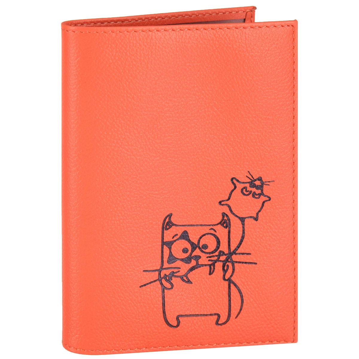 Обложка для паспорта Fabula Friends цвет: грейпфрут. O.30.CHO.30.CH. грейпфрутСтильная обложка для паспорта Fabula Friends выполнена из натуральной кожи с зернистой текстурой, оформлена художественной печатью с изображением забавного котика. Обложка для паспорта раскладывается пополам, внутри расположены два пластиковых кармашка. Такая обложка для паспорта станет прекрасным и стильным подарком человеку, любящему оригинальные и практичные вещи.