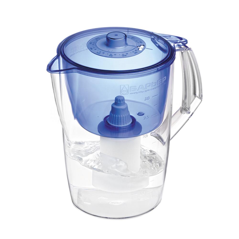 Фильтр-кувшин для воды Барьер Норма, цвет: индигоФильтр-кувшин Барьер Норма цвет: индигоФильтр Norma - одна из самых популярных моделей фильтров-кувшинов. Кувшин обеспечит Вам нужное количество чистой воды за раз и при этом не будет занимать много места на кухне. Фильтр Norma - это признанное российскими потребителями сочетание доступности с большим количеством отфильтрованной воды. Фильтр-кувшин предназначен для доочистки питьевой водопроводной воды. Эффективно очищает воду от активного хлора, органических и хлороорганических соединений, токсичных металлов и других вредных веществ. Устраняет неприятные запахи и привкусы. Фильтр укомплектован сменной фильтрующей кассетой БАРЬЕР-4. В состав кассеты входят особая комбинация высококачественных активированных углей для сорбции вредных примесей и специальные ионообменные материалы для удаления из воды ионов токсичных металлов. Особенности данного фильтра: высококачественный пластик, допущенный для контакта с питьевой водой; возможность мыть в посудомоечной машине; уникальная...