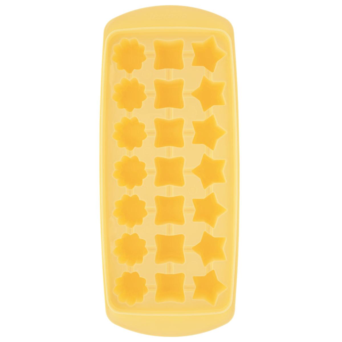 Форма для льда Tescoma Presto, цвет: желтый, 21 ячейка420706 желтыйФорма для льда Tescoma Presto выполнена из прочного пластика. За один раз вы можете приготовить 21 кубик льда в форме звездочки, квадратика или цветочка. Теперь на смену традиционным квадратным пришли новые оригинальные формы для приготовления фигурного льда, которыми можно не только охладить, но и украсить любой напиток. В формочки при заморозке воды можно помещать ягодки, такие льдинки не только оживят коктейль, но и добавят радостного настроения гостям на празднике! Общий размер формы: 27 см х 11,5 см х 3 см. Средний размер ячейки: 2,5 см х 2,5 см. Количество ячеек: 21 шт.