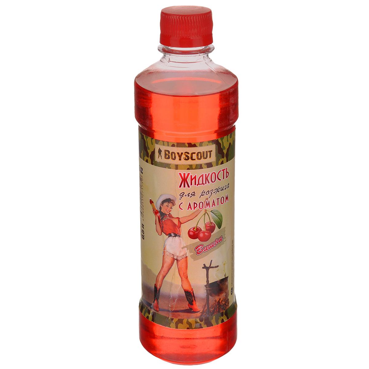 Жидкость для розжига Boyscout, парафиновая, с ароматом вишни, 500 мл61055Парафиновая жидкость Boyscout предназначена для розжига древесного угля, дров, топливных брикетов. Имеет приятный аромат. Жидкость разгорается спокойным равномерным огнем, не вспыхивая.