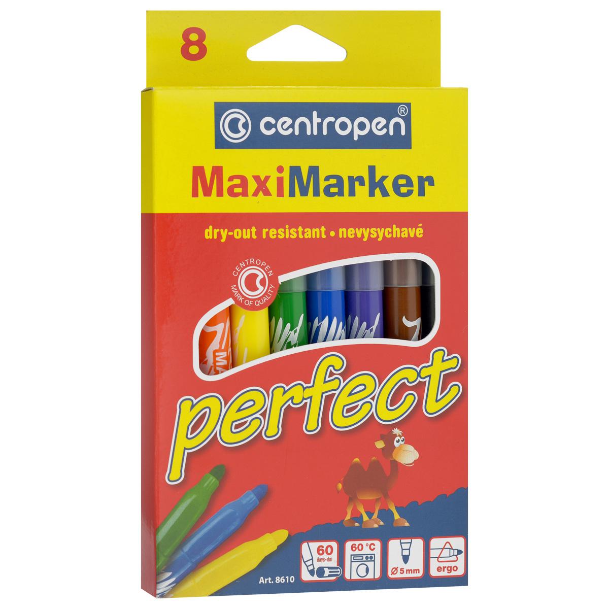 Фломастеры Centropen Perfect, устойчивые к высыханию, 8 цветов610842Фломастеры Centropen Perfect - идеальный инструмент для творчества маленького художника!Корпусы фломастеров выполнены из прочного пластика соответствующих цветов.Фломастеры имеют яркие насыщенными цветами и легко ложатся на бумагу. Вентилируемые колпачки фломастеров снабжены специальными отверстиями. Фломастеры устойчивы к высыханию, а корпус увеличенного размера обеспечит удобство при рисовании. Всего в наборе 8 фломастеров желтого, оранжевого, синего, зеленого, красного, фиолетового и черного цветов. Рисование знакомит ребенка с цветами и формами, и положительно влияет на настроение детей. Кроме того, оно развивает мелкую моторику, воображение и творческое мышление.