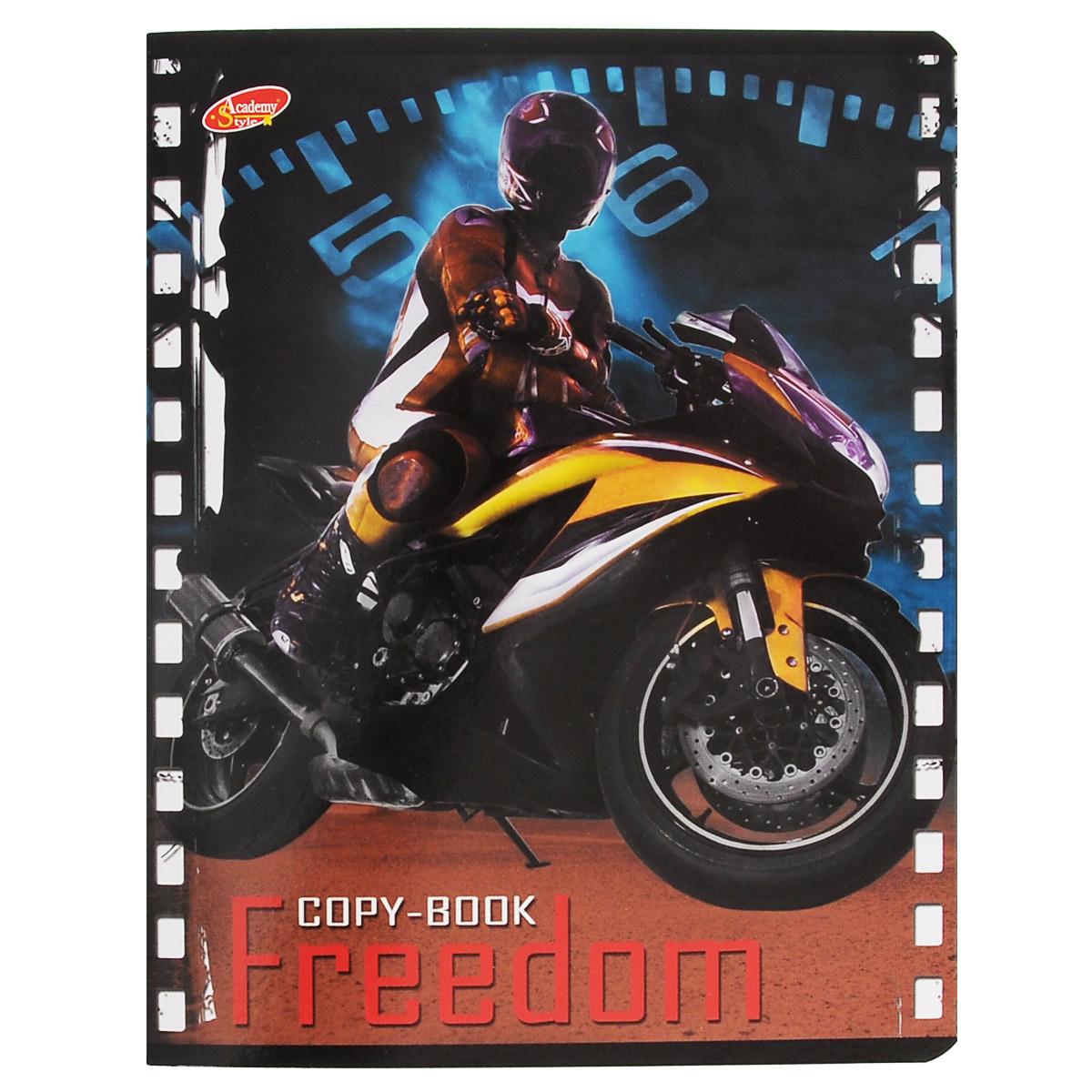 Тетрадь Freedom Мотоцикл, 80 листов, формат А5, цвет: желтый72523WDТетрадь в клетку Freedom Мотоцикл с красочным изображением мотоцикла на обложке подойдет как студенту, так и школьнику. Обложка тетради с закругленными углами выполнена из картона. Внутренний блок состоит из 80 листов белой бумаги. Стандартная линовка в клетку дополнена полями, совпадающими с лицевой и оборотной стороны листа.