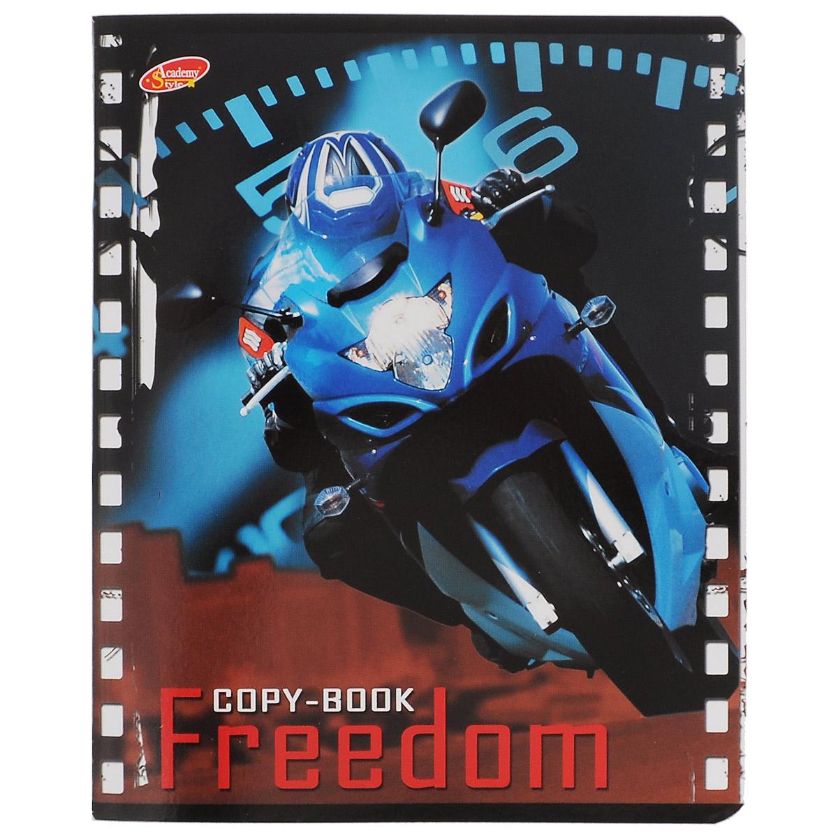 Тетрадь Freedom Мотоцикл, 80 листов, формат А5, цвет: голубой6595/5_ГолубойТетрадь в клетку Freedom Мотоцикл с красочным изображением мотоцикла на обложке подойдет как студенту, так и школьнику. Обложка тетради с закругленными углами выполнена из картона. Внутренний блок состоит из 80 листов белой бумаги. Стандартная линовка в клетку дополнена полями, совпадающими с лицевой и оборотной стороны листа.