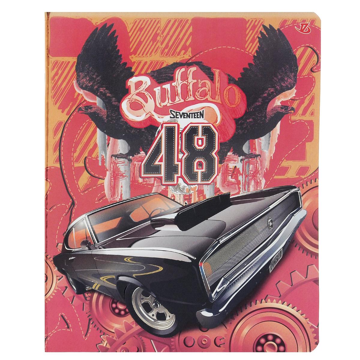 Тетрадь Seventeen Buffalo 48, цвет: красный, черный, 48 листов7225/5_конгрев Авто Buffalo 48 , цвет : красный (с дополнительным листом)Тетрадь Seventeen Buffalo 48 прекрасно подойдет как студенту, так и школьнику. Обложка тетради с фактурным изображением черного автомобиля выполнена из мелованного картона с закругленными углами. Внутренний блок тетради состоит из 48 листов высококачественной бумаги повышенной белизны. Стандартная линовка в клетку дополнена полями, совпадающими с лицевой и оборотной стороны листа. Первая страничка содержит поля для заполнения личных данных.