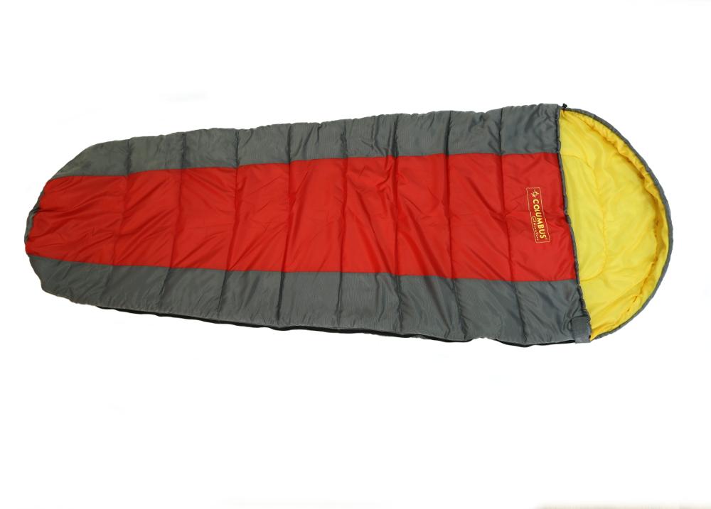 Спальный мешок-кокон Columbus 200, левосторонняяя молния, цвет: серый, красный, желтый0-70-648Спальный мешок Columbus 200 - незаменимая вещь для любителей уюта и комфорта во время активного отдыха. Этот теплый спальный мешок спасет вас от холода во время туристического похода, поездки на рыбалку даже в межсезонье.