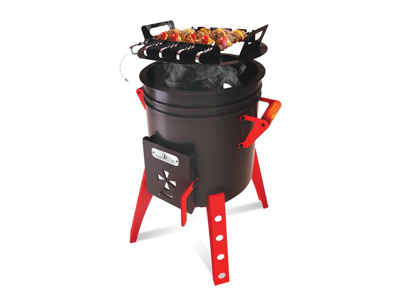 Печь-мангал для казана Grillux, цвет: черный, красныйВЗР 2198Если вы являетесь поклонником восточной кухни и любите готовить пищу на огне, то печь для казана - это то, что вам нужно! Ее вы можете эксплуатировать в любом удобном для вас месте дачного участка. А при сезонном проживании за городом, вы без проблем защитите печь от снега, морозов и влажности, просто убрав ее в дом или в сарай. Печь может использоваться для казанов разного объема: 8, 12, 18, 25 л. Имеет дымоход диаметром 90 мм. с заслонкой для регулирования тяги и ручки для комфортного переноса печи. Печь покрыта жаропрочной краской. А так же в комплект входит насадка для 5 шампуров для приготовления вкусного шашлыка. Печь имеет съемные ножки и зольник. Размер печи: 466/466/675 мм • Диаметр жаровни: 390 мм • Глубина: 295 мм • Толщина стали: 2 мм • Вес: 12,9 кг.