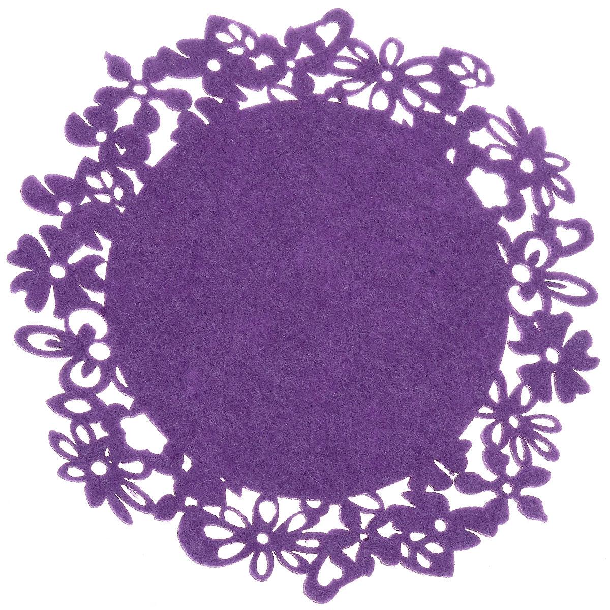 Салфетка-подставка под горячее Orange Цветы, цвет: сиреневый, диаметр 19,5 см82014_сиреневыйКруглая салфетка-подставка под горячее Orange Цветы изготовлена из фетра и оформлена изысканной перфорацией в виде цветов. Такая салфетка прекрасно подойдет для украшения интерьера кухни, она сбережет стол от высоких температур и грязи. Диаметр: 19,5 см.