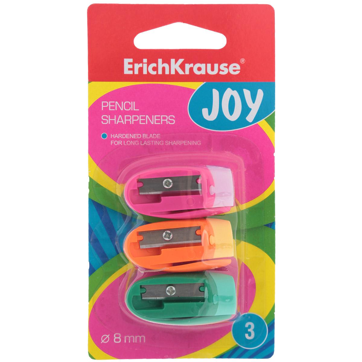 Набор точилок Erich Krause Joy цвет розовый оранжевый зеленый 3 шт21826Набор состоит из трех одинарных точилок без контейнера в ярком пластиковом корпусе с клипом для заточки стандартных карандашей диаметром до 8 мм. Каждая точилка компактная по размеру, изготовлена из неломающихся, ударопрочных материалов. Высококачественное стальное лезвие позволит использовать такие точилки длительное время.