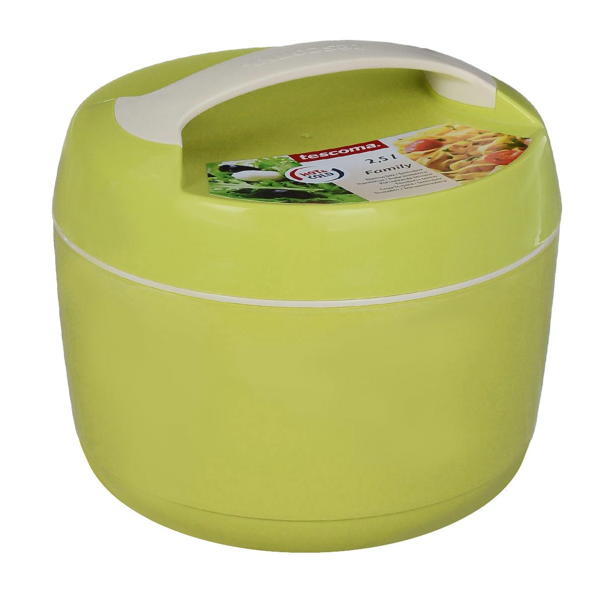 Термоконтейнер Tescoma Family, цвет: салатовый, 2,5 лVT-1520(SR)Термоконтейнер Tescoma Family изготовлен из высококачественного пищевого пластика. Прекрасно подходит для длительного хранения и переноски теплой и холодной пищи. Двойные стенки контейнера с высокоэффективным теплоизоляционным заполнением сохраняют пищу теплой или холодной в течение нескольких часов. При обычном использовании контейнер не бьющийся. Крышка плотно и удобно закручивается. Для комфортной переноски предусмотрена ручка. В комплекте имеется специальная емкость объемом 1 л для отдельного хранения закусок и гарнира. Емкость удобно помещается внутрь контейнера. Контейнер нельзя мыть в посудомоечной машине, пластиковая емкость с крышкой пригодна для мытья в посудомоечной машине. Объем контейнера: 2,5 л. Диаметр контейнера: 22 см. Высота контейнера: 17 см. Объем емкости: 1 л. Диаметр емкости: 19 см. Высота стенки емкости: 4,5 см.