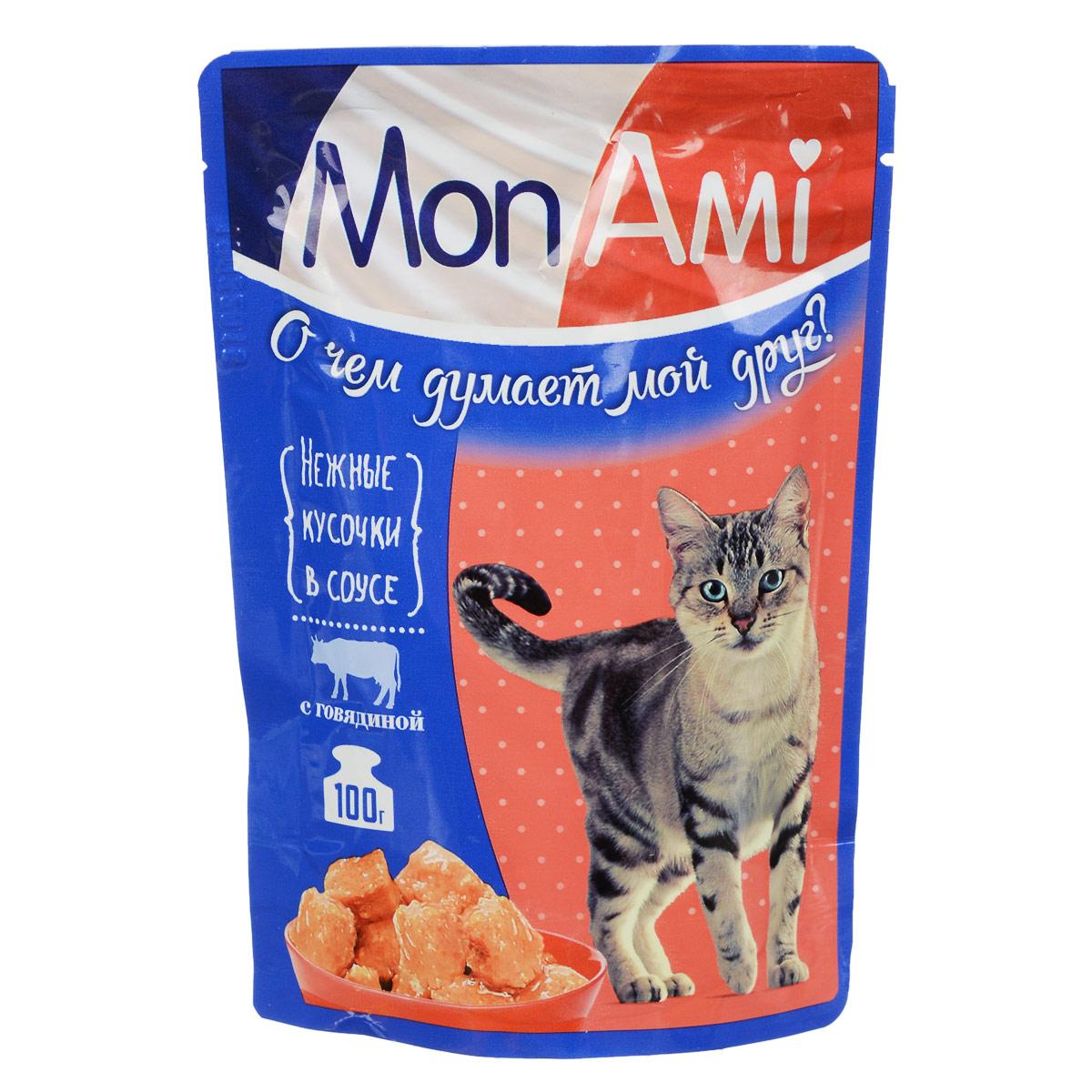 Корм консервированный для кошек Mon Ami, с говядиной, 100 г0120710Консервированный корм Mon Ami - это самое любимое лакомство вашейкошки, которое содержит оптимальный набор полезных витаминов, минералов и микроэлементов, позволяющие сохранять безупречный внешний вид животного.После вкусного завтрака с аппетитными и нежными кусочками в соусе со вкусом говядины благодарность вашего питомца не заставит себя ждать.Состав: мясо и продукты животного происхождения, растительные компоненты, масло подсолнечное, минеральные добавки, загустители, витамины (в том числе таурин).Содержание питательных веществ: протеин 8%, жир 5%, влага 82%, зола 2,5 %, клетчатка 0,5%, витамин Е 1 мг/100 г.Энергетическая ценность: 75 ккал/100 г .Вес: 100 г.Товар сертифицирован.
