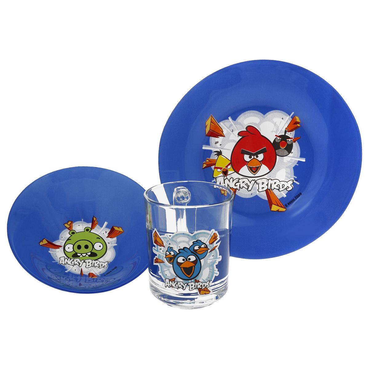 Набор детской посуды Angry Birds, цвет: синий, 3 предмета1057901Набор детской посуды Angry Birds, выполненный из стекла, состоит из кружки, тарелки и салатника. Изделия оформлены изображением любимых героев популярного мультфильма Angry Birds. Материалы изделий нетоксичны и безопасны для детского здоровья. Детская посуда удобна и увлекательна для вашего малыша. Привычная еда станет более вкусной и приятной, если процесс кормления сопровождать игрой и сказками о любимых героях. Красочная посуда является залогом хорошего настроения и аппетита ваших детей. Можно мыть в посудомоечной машине. Диаметр тарелка: 19,5 см. Диаметр салатника: 14 см. Высота салатника: 4,5 см. Объем кружки: 250 мл. Диаметр кружки (по верхнему краю): 7 см. Высота кружки: 9,5 см.