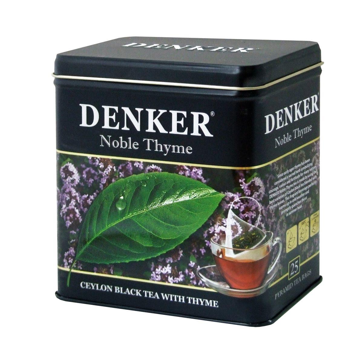Denker Noble Thyme черный чай в пирамидках, 25 шт1080019Чабрец, хорошо известный также под названием тимьян, с древности почитался как божественная трава и у многих народов с древних пор был символом отваги, мужества и силы духа. Чай Denker Noble Thyme производится из лучших сортов черного цейлонского чая с добавлением листьев чабреца. Этот ароматный напиток отлично согревает в ненастную погоду и быстро утоляет жажду в летний зной.