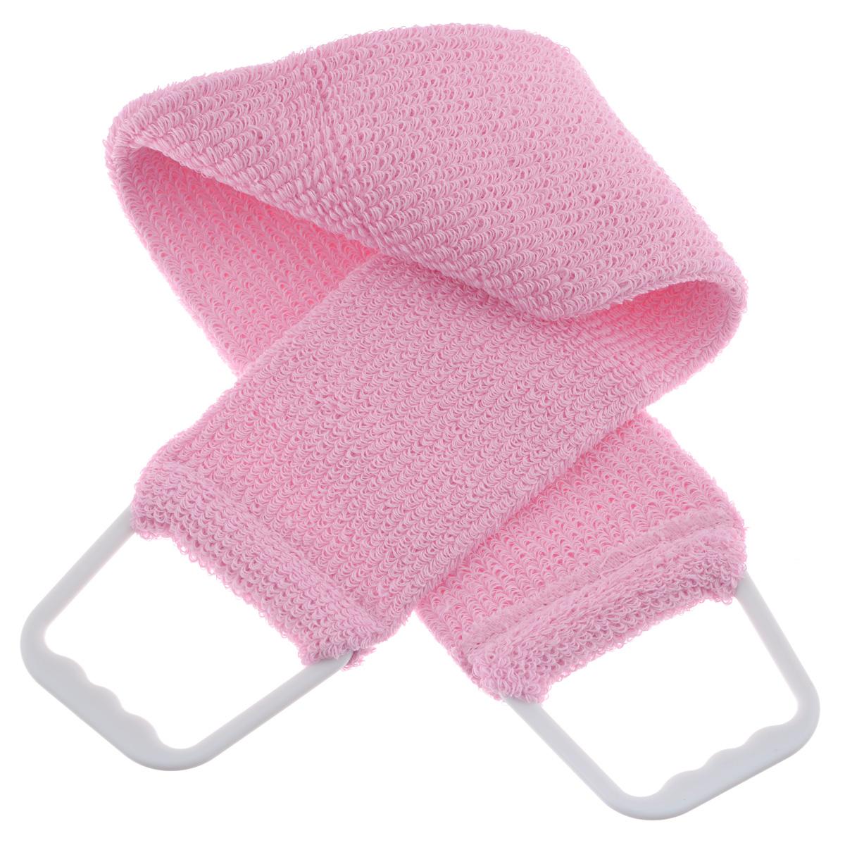 Мочалка 103, цвет: розовый5010777142037Мочалка-пояс Riffi используется для мытья тела, обладает активным пилинговым действием, тонизируя, массируя и эффективно очищая вашу кожу. Хлопковая основа придает мочалке высокие моющие свойства, а примесь жестких синтетических волокон усиливает ее массажное воздействие на кожу. Для удобства применения пояс снабжен двумя пластиковыми ручками. Благодаря отшелушивающему эффекту мочалки-пояса, кожа освобождается от отмерших клеток, становится гладкой, упругой и свежей. Массаж тела с применением Riffi стимулирует кровообращение, активирует кровоснабжение, способствует обмену веществ, что в свою очередь позволяет себя чувствовать бодрым и отдохнувшим после принятия душа или ванны. Riffi регенерирует кожу, делает ее приятно нежной, мягкой и лучше готовой к принятию косметических средств. Приносит приятное расслабление всему организму. Борется со спазмами и болями в мышцах, предупреждает образование целлюлита и обеспечивает омолаживающий эффект. Моет легко и энергично. Быстро сохнет. Гипоаллергенная.