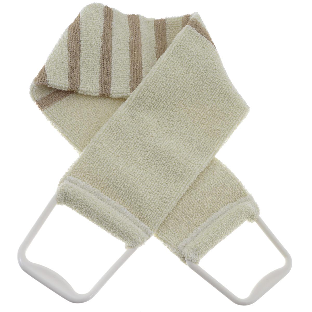 Мочалка 426, цвет: бежевый426 бежевыйМочалка-пояс Riffi применяется для мытья тела, обладает активным пилинговым действием, тонизируя, массируя и эффективно очищая вашу кожу. Мягкая хлопковая мочалка-пояс хорошо намыливает тело, а ее цветные полоски из жесткой полиэтиленовой махры эффективно удаляют отмершие чешуйки кожи, производя одновременно с пилингом и легкий массаж. Для удобства применения пояс снабжен двумя пластиковыми ручками. Благодаря отшелушивающему эффекту мочалки-пояса, кожа освобождается от отмерших клеток, становится гладкой, упругой и свежей. Интенсивный и пощипывающе свежий массаж тела с применением Riffi стимулирует кровообращение, активирует кровоснабжение, способствует обмену веществ, что в свою очередь позволяет себя чувствовать бодрым и отдохнувшим после принятия душа или ванны. Riffi регенерирует кожу, делает ее приятно нежной, мягкой и лучше готовой к принятию косметических средств. Приносит приятное расслабление всему организму. Борется со спазмами и болями в ...