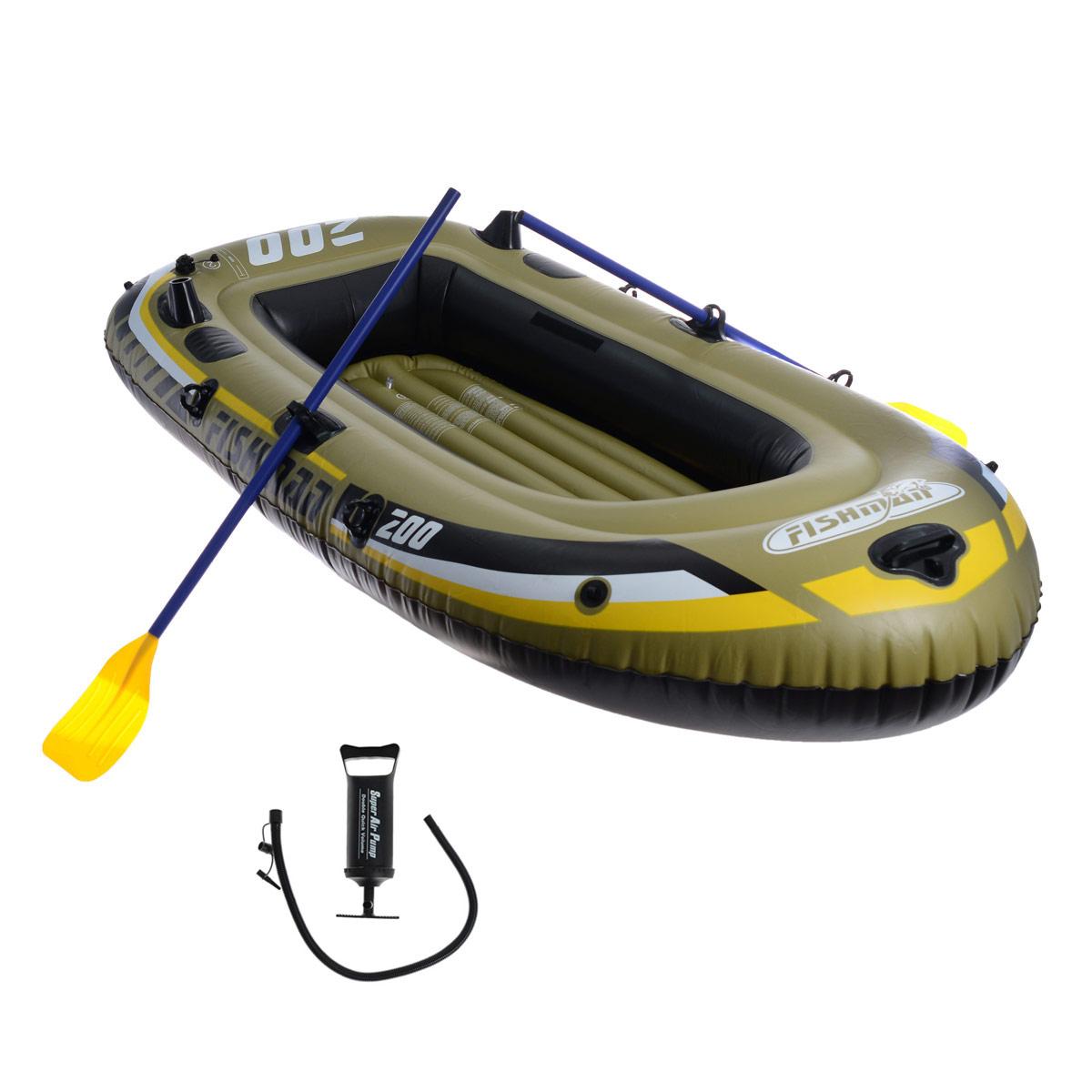 Лодка надувная Jilong Fishman 200 Set, с веслами и насосом, цвет: темно-зеленый, 218 см х 110 см х 36 смJL007207-1NЛодка Jilong Fishman 200 Set отлично подходит для рыбалки, плавания по речкам и озерам. Материал лодки имеет высокую прочность. Он стоек к воздействию бензина, морской воды. В комплектацию входит трос. Возможна установка мотора на лодку, для этого нужно докупить транец. По бокам лодки установлены держатели для весел и удочек. Особенности: Пластиковые весла (длина 124,46 см; Ручной насос; 2-камерная конструкция лодки для большей безопасности; Крепление для весел; Держатель для весел; Карман для хранения; Надувной пол для удобства и жесткости; Держатель для удочек; Стропа по периметру лодки; Винтовой клапан для быстрого надувания и сдувания.