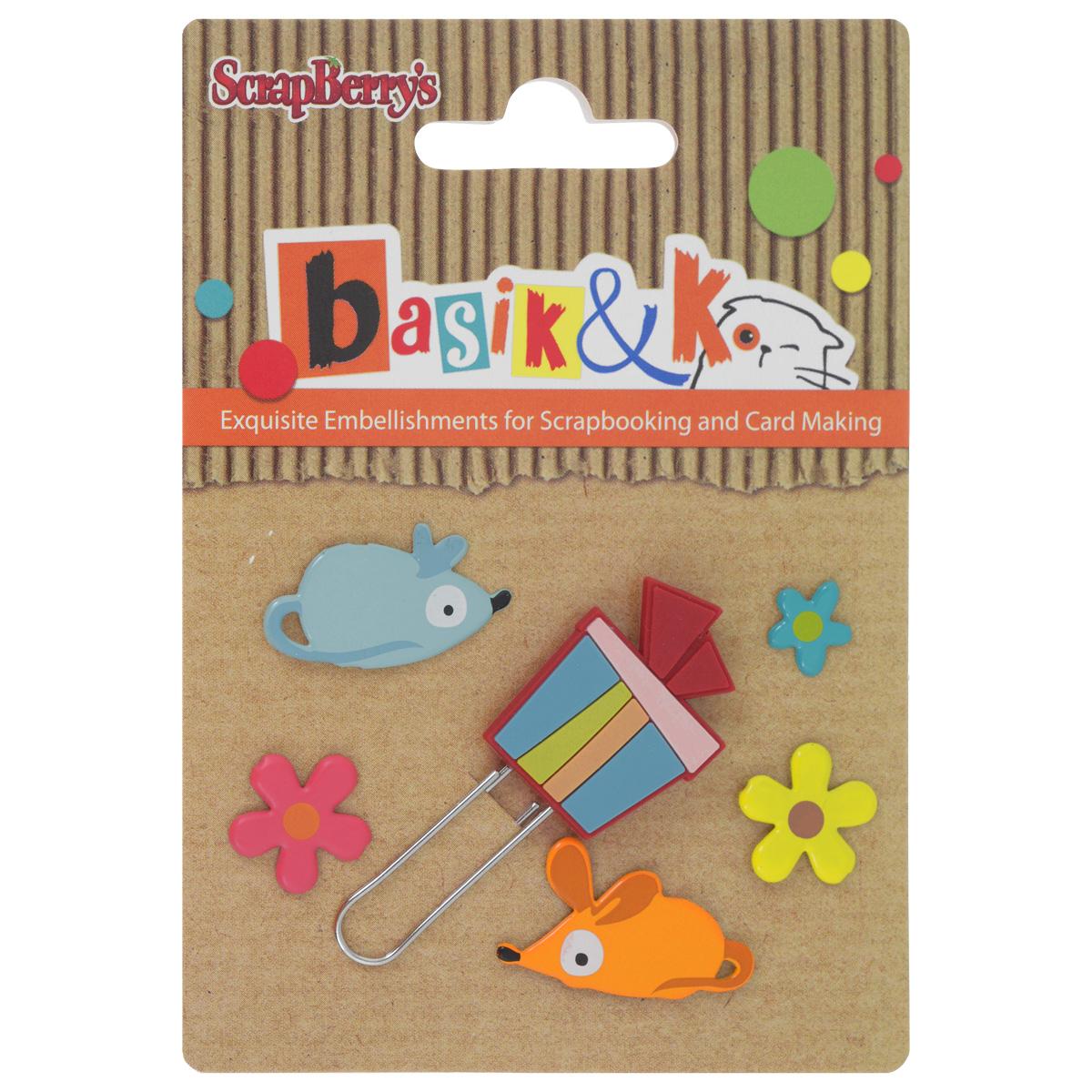 Набор брадсов Basik & K Кошки-мышки, 6 шт09840-20.000.00Брадсы Basik & K Кошки-мышки изготовлены из металла и резины. В наборе представлены брадсы различных размеров, форм и цветов. Такой набор прекрасно подойдет для декора и оформления творческих работ в различных техниках, таких как скрапбукинг, шитье, декор, изготовление бижутерии и многого другого. Брадсы разнообразят вашу работу и добавят вдохновения для новых идей.Размер самого большого брадса: 2,5 см х 2 см.Диаметр самого маленького брадса: 0,9 см.