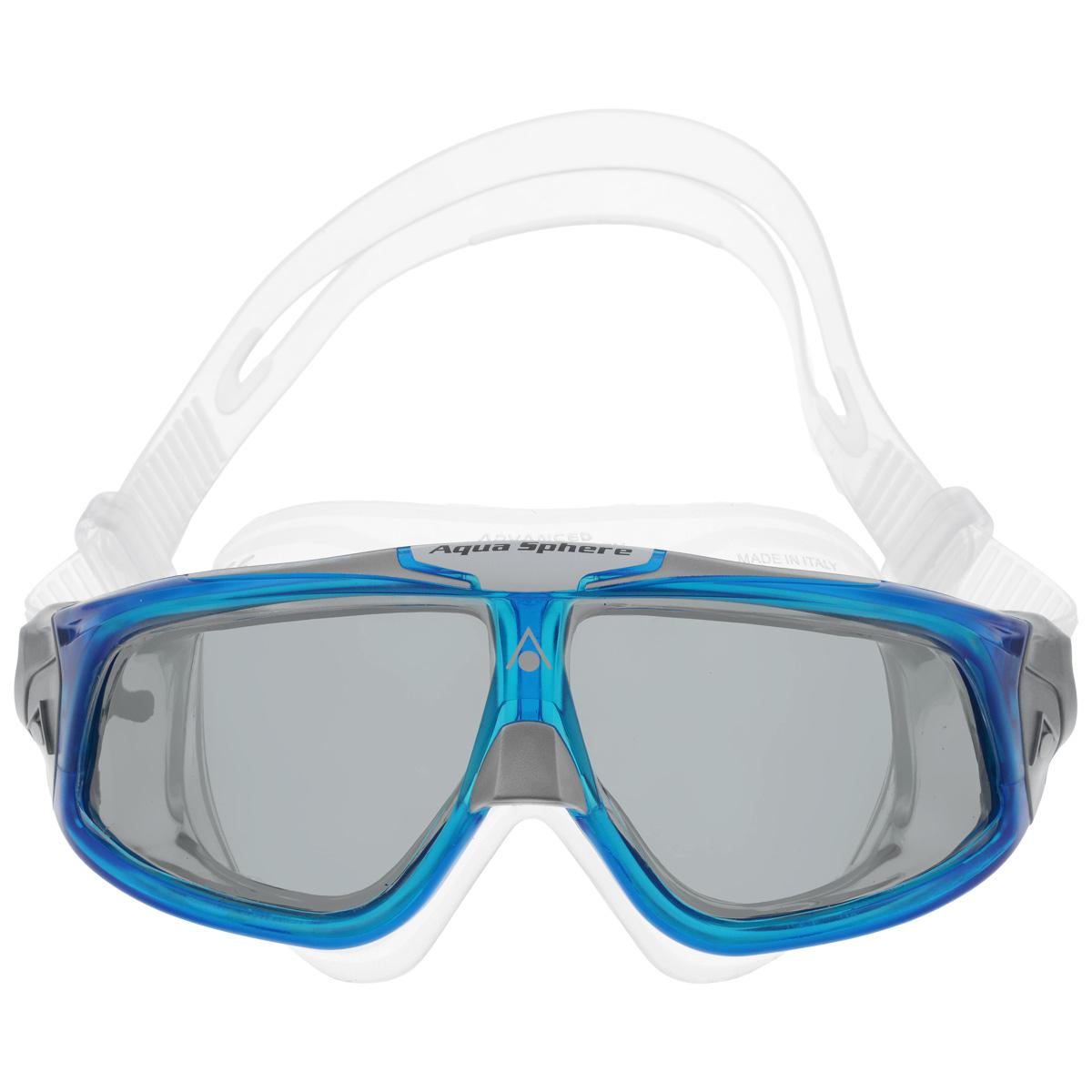 Очки для плавания Aqua Sphere Seal 2.0, цвет: прозрачный, синийTN 175170Aqua Sphere Seal 2.0 являются идеальными очками для тех, кто пользуется контактными линзами, так как они обеспечивают высокий уровень защиты глаз от внешних раздражителей, бактерий, соли и хлора. Особая форма линз обеспечивает панорамный обзор 180°. Очки дают 100% защиту от ультрафиолетового излучения. Специальное покрытие препятствует запотеванию стекол. Материал: силикон, plexisol.