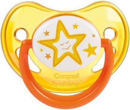 CANPOL BABIES Пустышка силиконовая ортодонтическая 6-18 мес., цвет: оранжевый