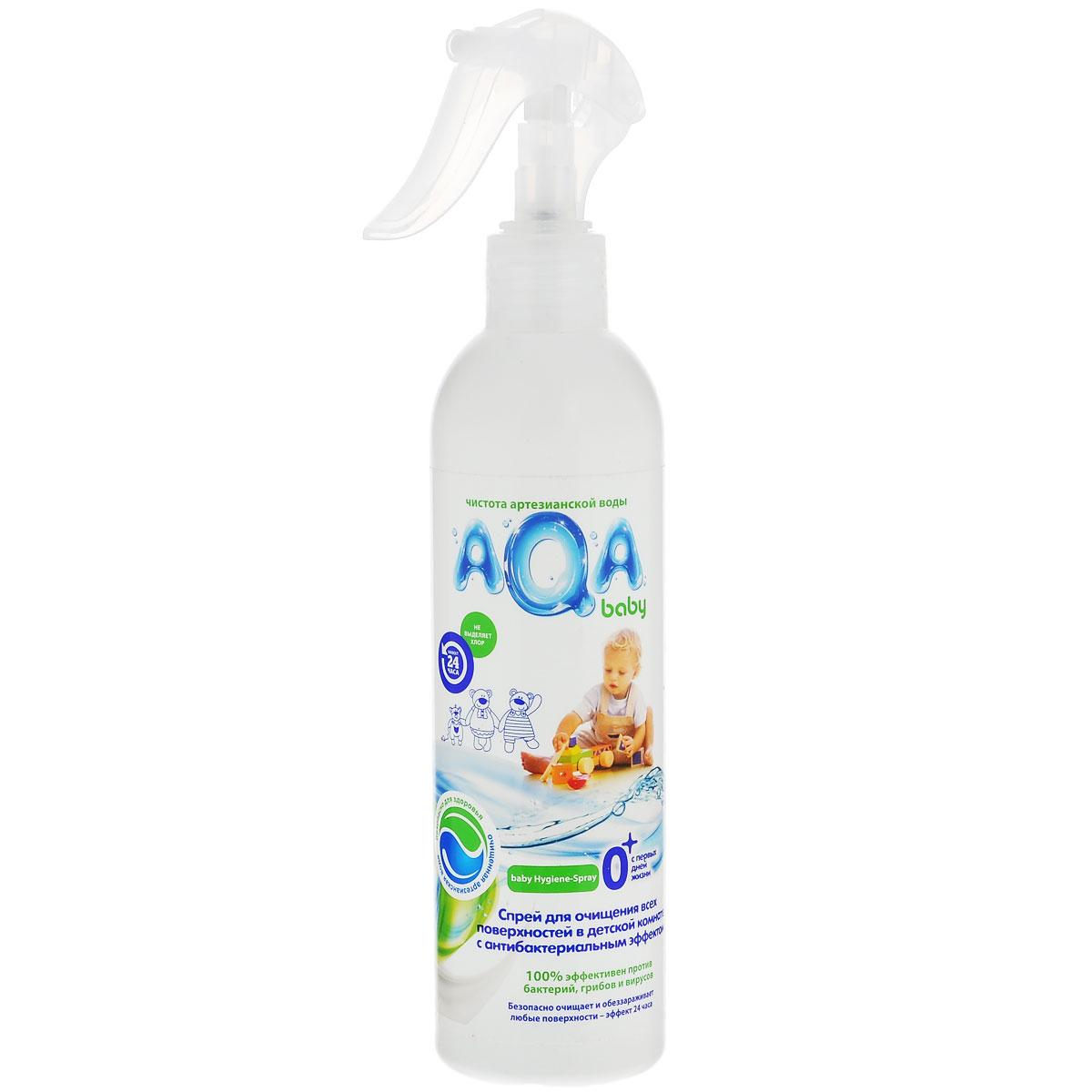 AQA Baby Антибактериальный спрей для очищения всех поверхностей в детской комнате, 300 млBN-21020AQA Baby антибактериальный спрей для очищения всех поверхностей в детской комнате. Инновация в области безопасных средств для уборки в детской комнате: очищает и обеззараживает любые поверхности в детской комнате, предметы, в том числе детские игрушки, горшки и т.д., устраняет неприятные запахи, разрушая их, а не маскируя,без хлора, красителей и оптических осветлителей. Безопасно для малыша и мамы, домашних питомцев и окружающей среды: не остается на поверхностяхна основе возобновляемого природного сырьяне нужно смывать водойЭффективность подтверждена тестами в соответствии со стандартом США AATCC 100-1998. Эффект 24 часа: Бактерицидный: удаляет вредные бактерии (эффективен как против грам-положительных, так и грам-отрицательных бактерий) Антибактериальный: блокирует рост и размножение микроорганизмов (в том числе грибов) Используется AQA Baby антибактериальный спрей для протирания игрушек, стульчиков/столиков для кормления, горшков или туалетных сидений, а также любой детской мебели и прочих предметов. Не оказывает разрушающего влияния на обрабатываемые поверхности. Не сушит кожу рук.Состав: >30% вода, <5%неионогенное ПАВ, <5% анионное ПАВ, солюбилизатор, консервант, отдушка. Дезинфицирующее вещество: <5% годроксидихлордифениловый эфир.