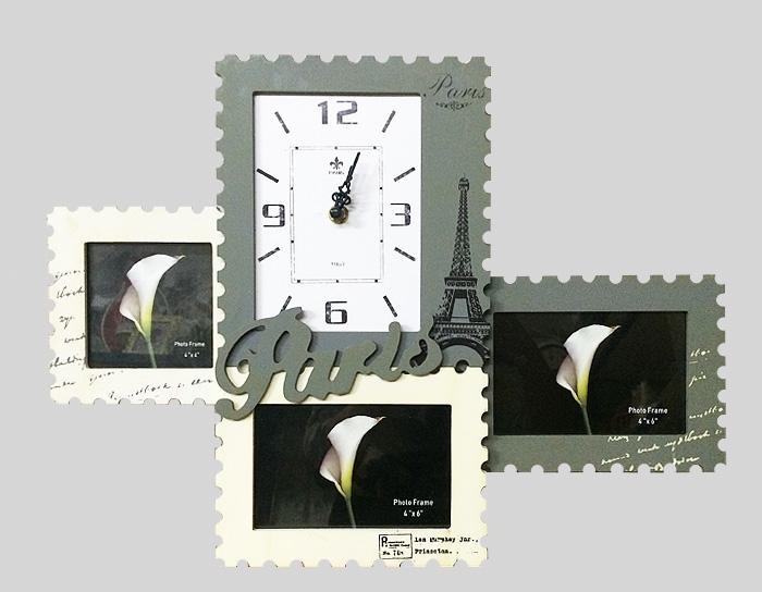 Настенные часы и фоторамки Париж. МДФ. 2000-е годыJ08132Настенные часы и фоторамки Париж. МДФ. 2000-е годы. Размер изделия 46 х 2 х 35 см. Сохранность отличная.