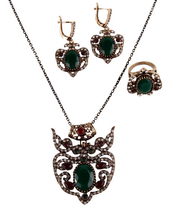 """Бижутерный гарнитур """"Флора"""" в византийском стиле. Металл, австрийские кристаллы, искусственные камни. Конец XX века"""