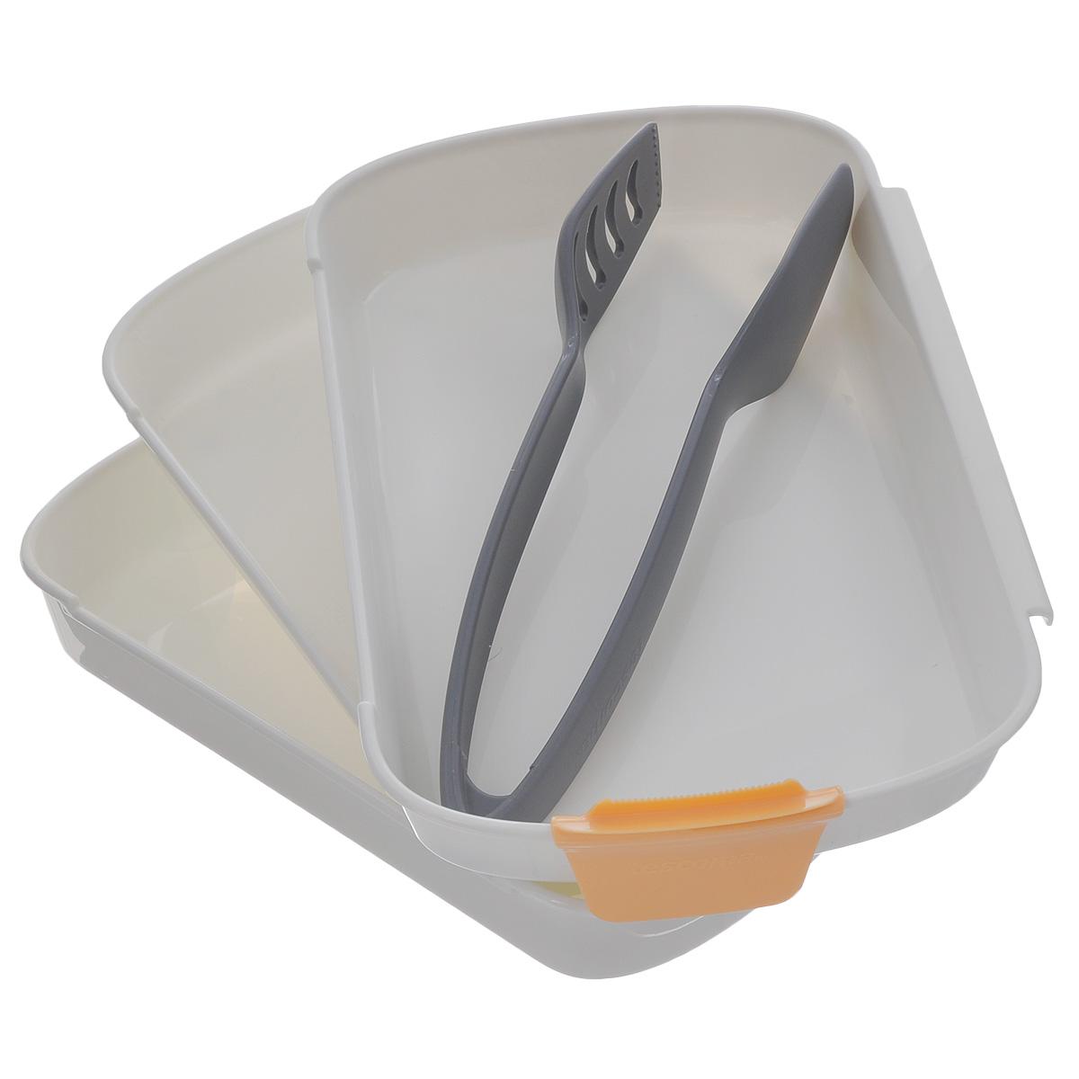 Набор для тройного кляра Tescoma PrestoCM000001328Набор Tescoma Presto предназначен для панирования мяса, рыбы, сыра, грибов и овощей в сухарях или тесте.Три блюда с противоскользящей поверхностью, которые соединены вместе, отлично подходят для погружения продуктов в муку, а затем покрытия их взбитым яйцом и панировочными сухарями.Щипцы из термостойкого нейлона.Поставляется с лезвием для легкого разбивания яиц.Подходит для холодильника, морозильной камеры, микроволновой печи и посудомоечной машины.В комплекте рецепты. Размер блюд: 25,5 см х 17 см х 3,5 см.Длина щипцов: 23,5 см.